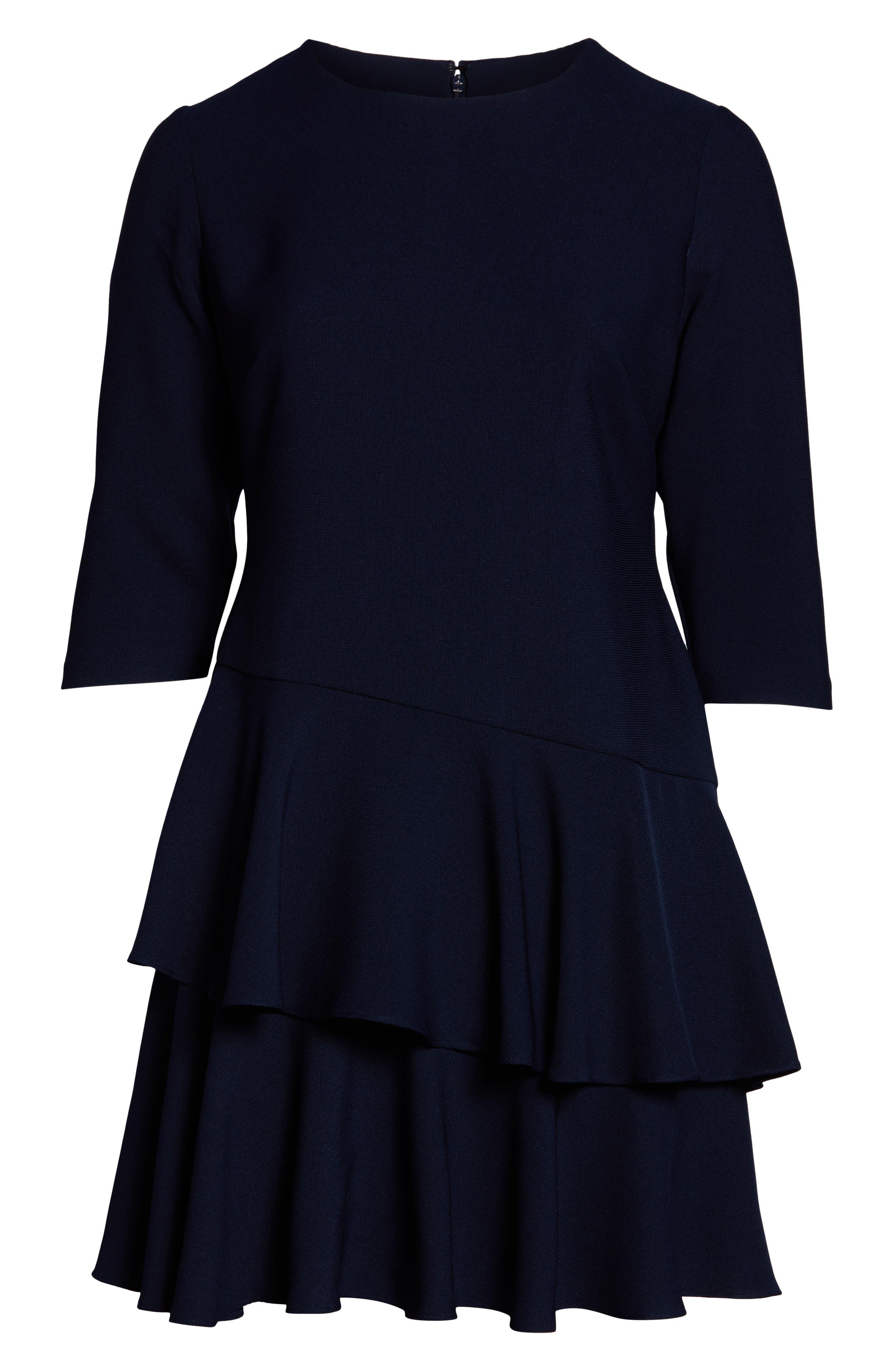 ELIZA J, Ruffle Tiered Sheath Dress, Alternate thumbnail 2, color, NAVY