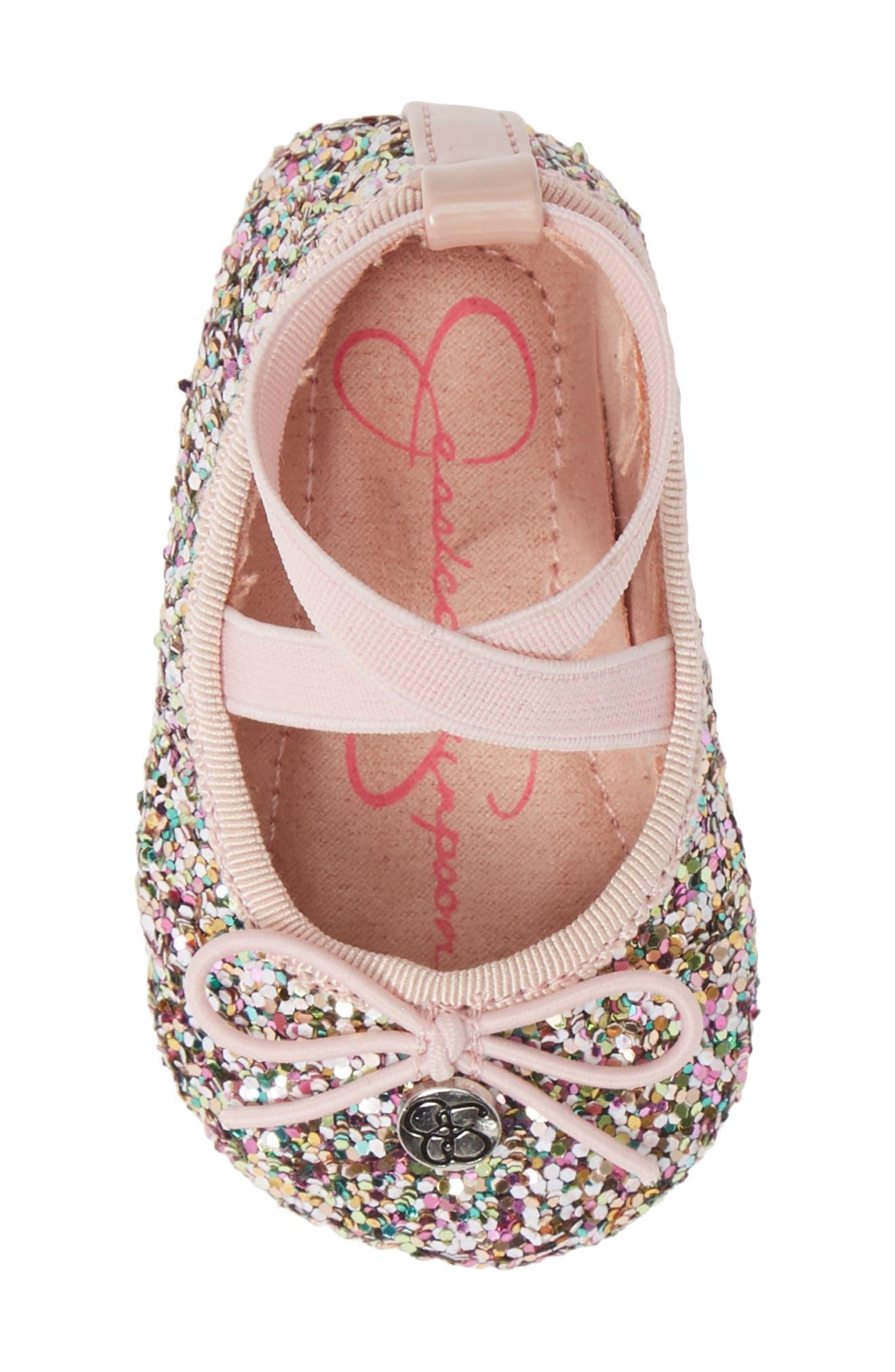 JESSICA SIMPSON, Glitter Mary Jane Crib Shoe, Alternate thumbnail 5, color, 650