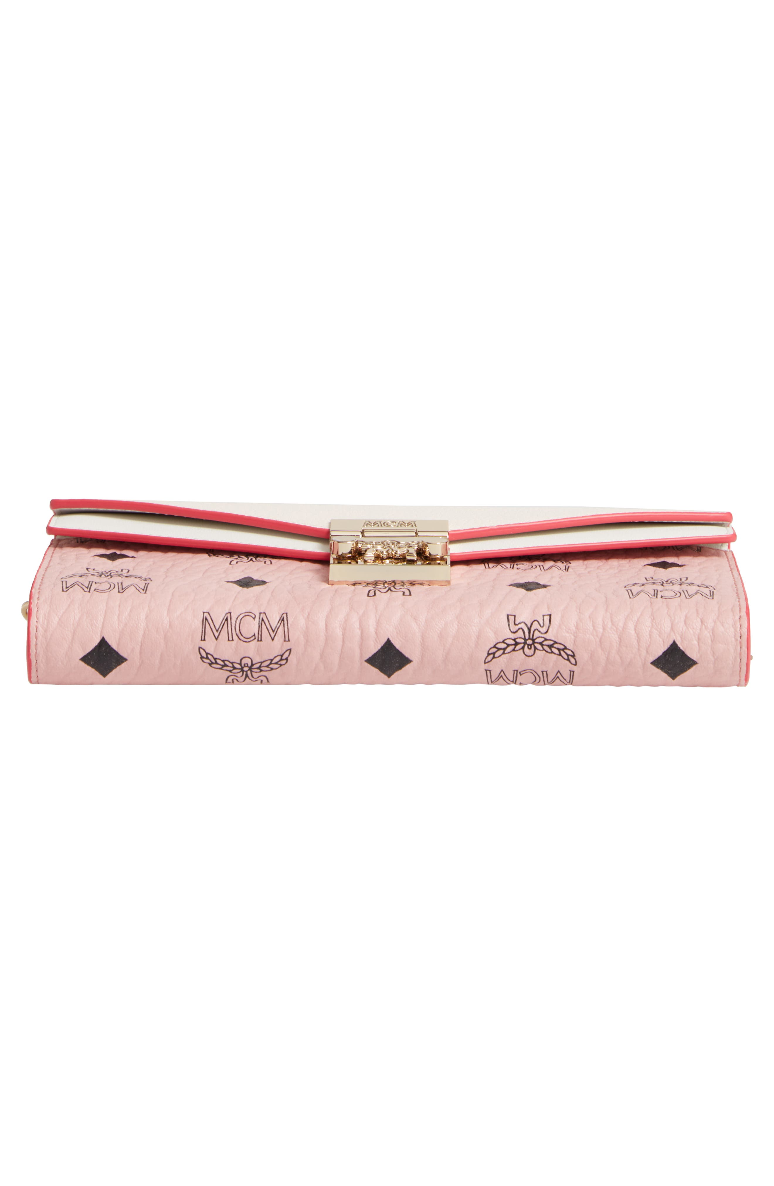MCM, Patricia Visetos Leather Wallet on a Chain, Alternate thumbnail 6, color, SOFT PINK SHELL