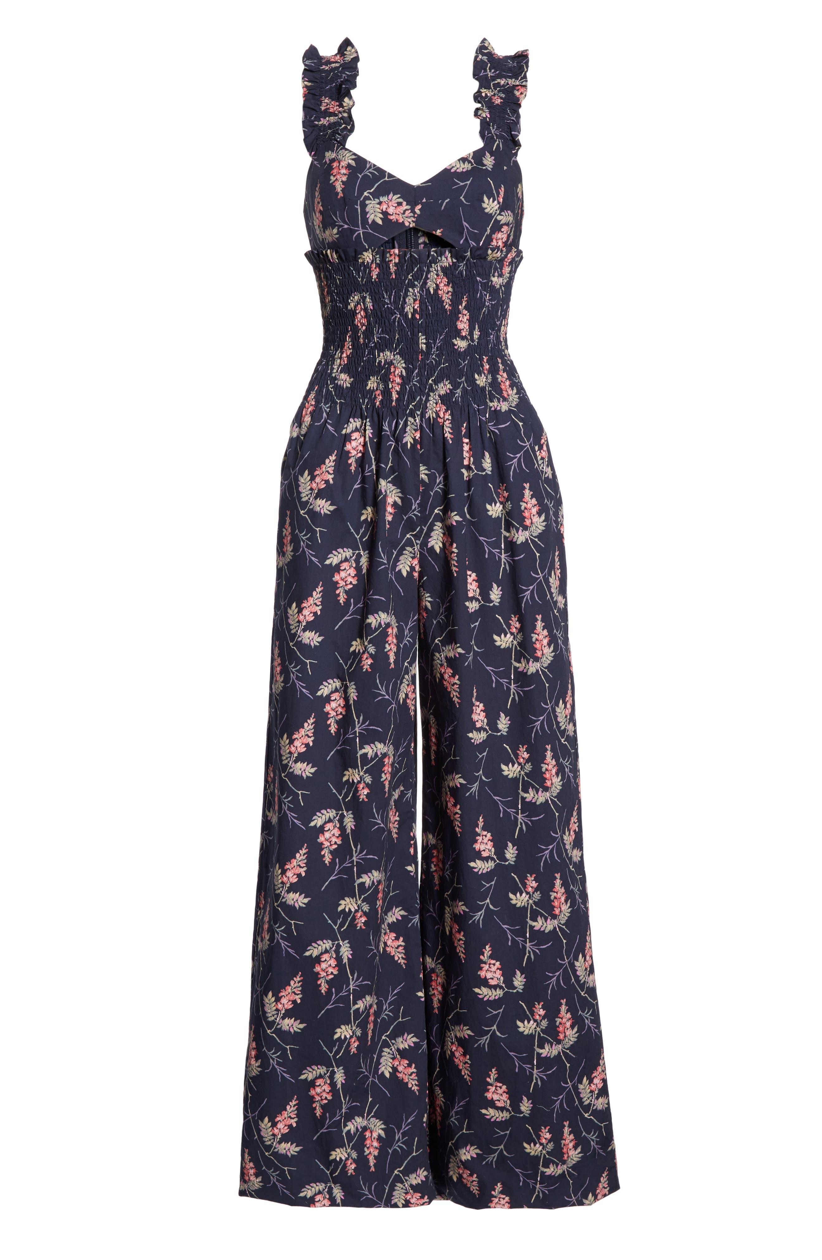 REBECCA TAYLOR, Ivie Floral Cotton Jumpsuit, Alternate thumbnail 6, color, NAVY COMBO