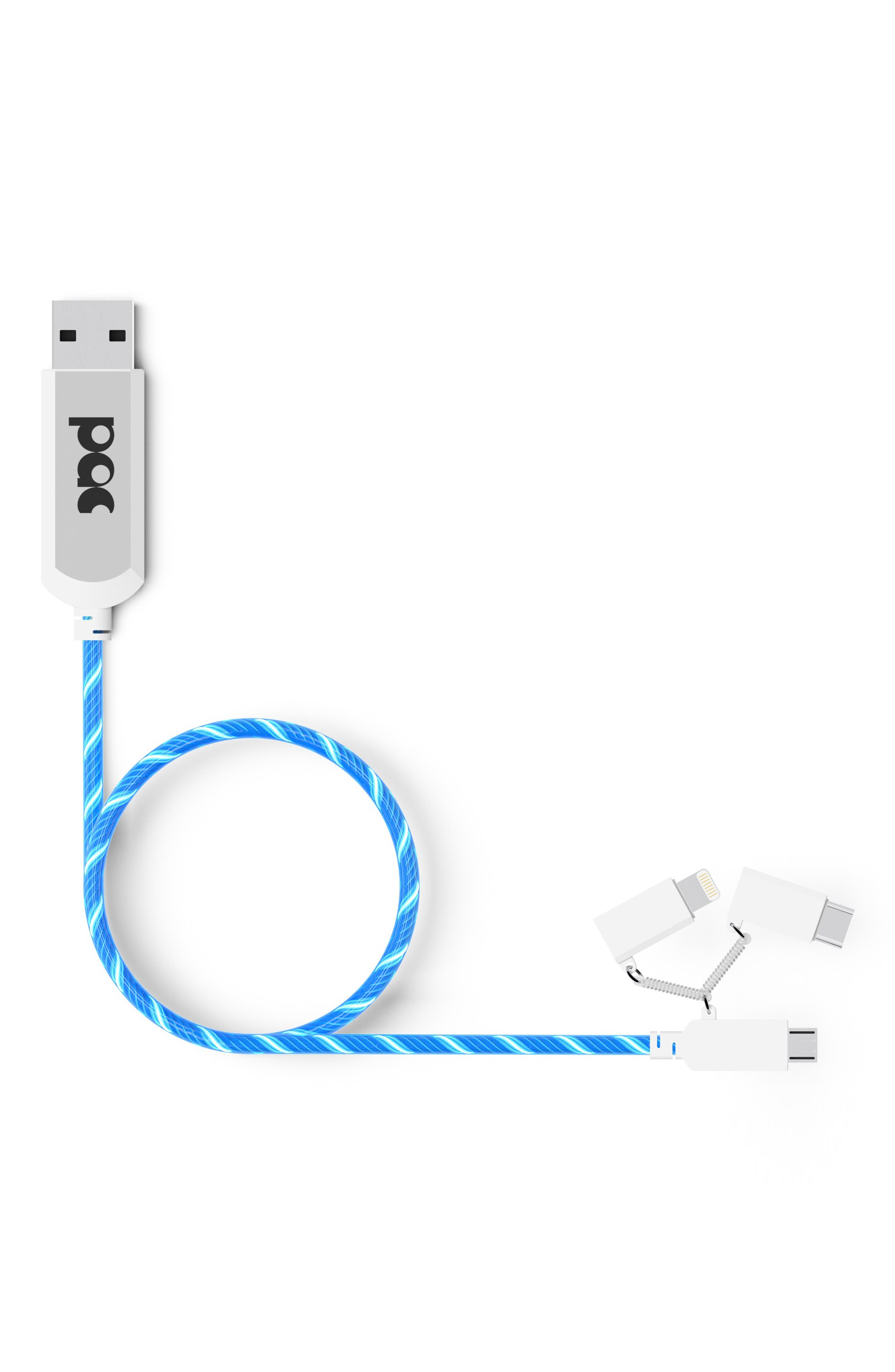 PAC TECH Power Flow Charge and Sync Cable, Main, color, BLUE