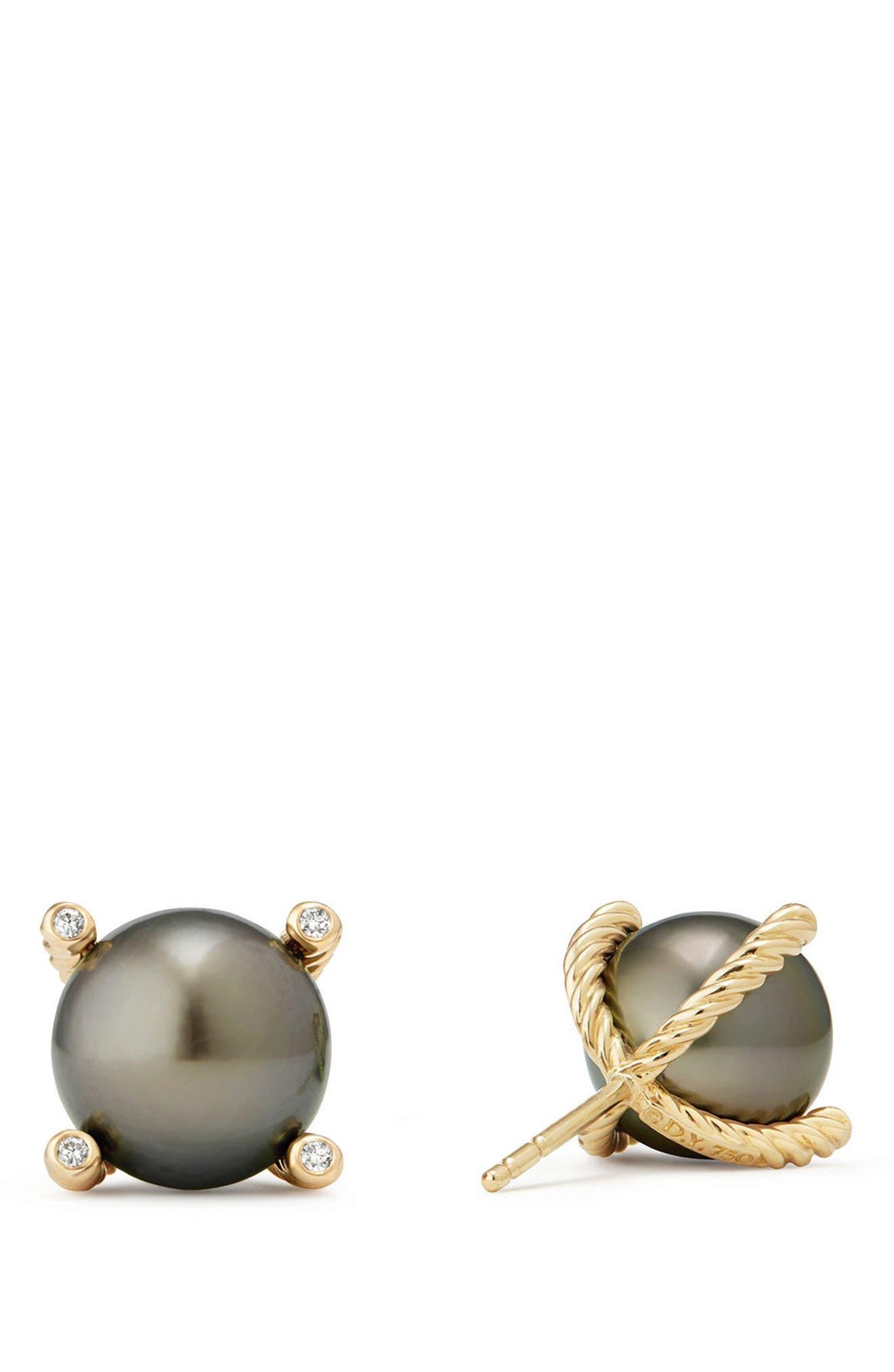 DAVID YURMAN, Genuine Pearl Earrings with Diamonds in 18K Gold, Alternate thumbnail 3, color, GOLD/ TAHITIAN GREY PEARL