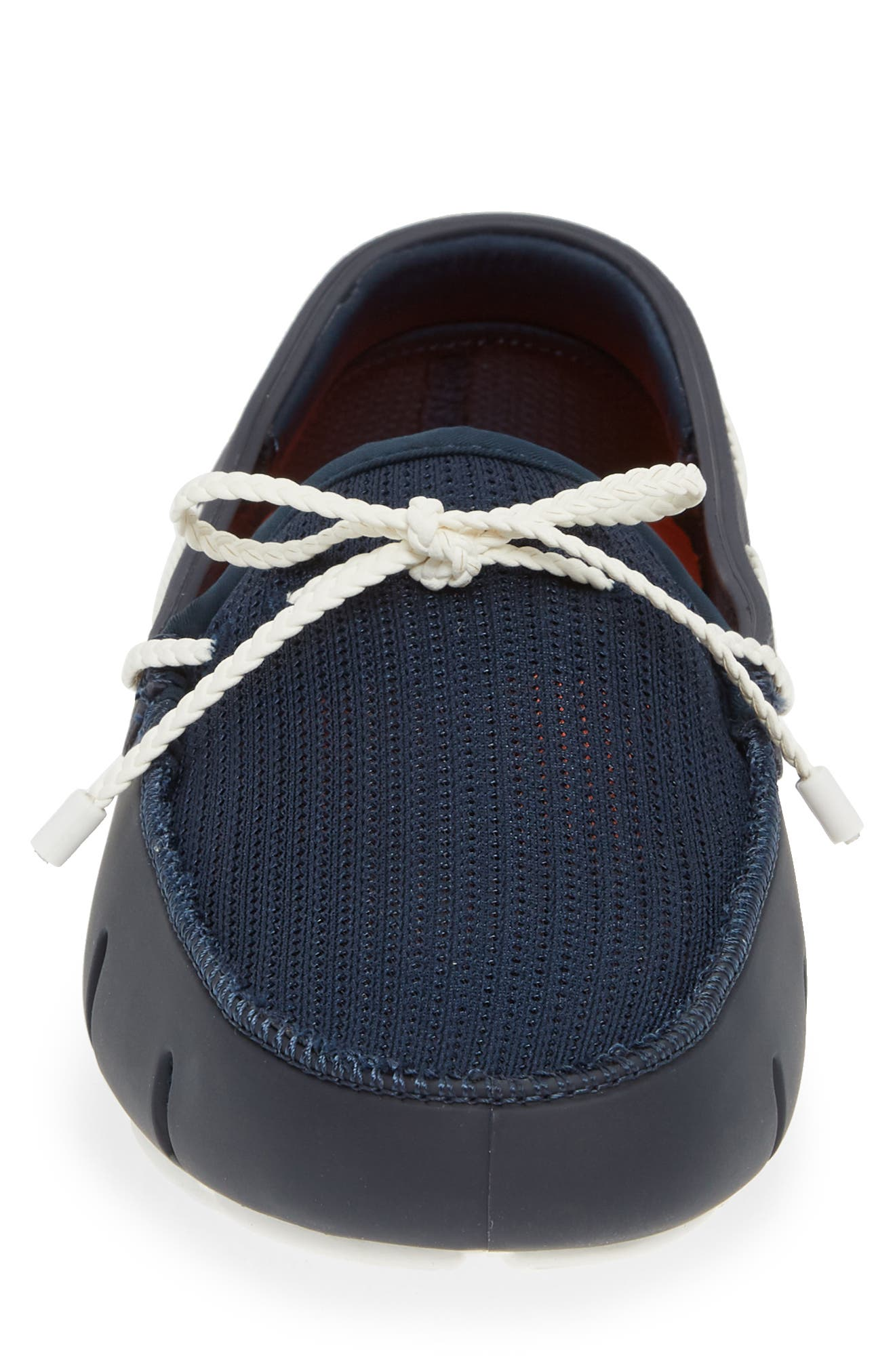 SWIMS, Lace Loafer, Alternate thumbnail 4, color, DARK NAVY/ WHITE