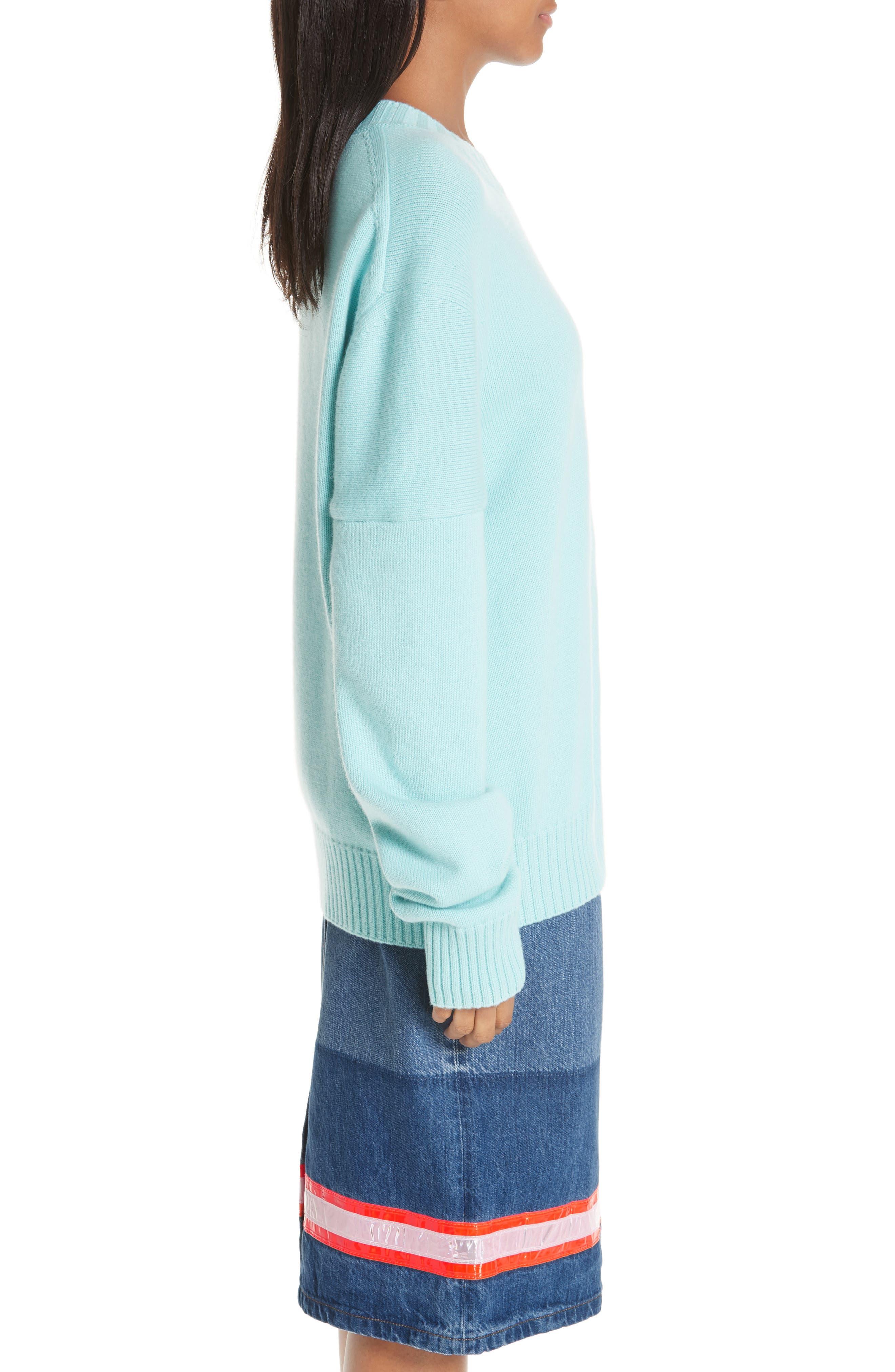 CALVIN KLEIN 205W39NYC, Logo Cashmere Sweater, Alternate thumbnail 4, color, SKY BLUE