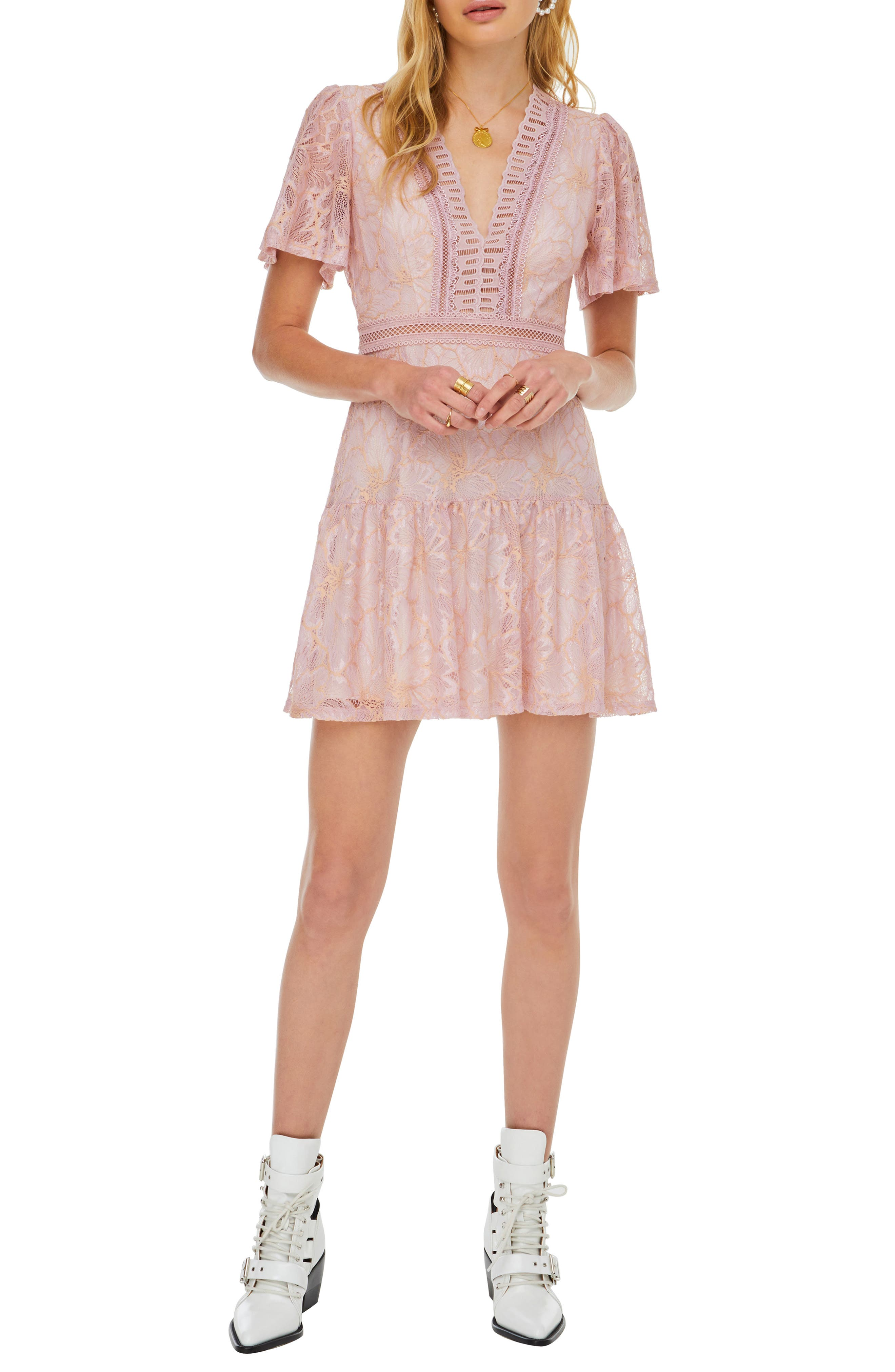 Astr The Label Muse Lace Skater Dress, Pink