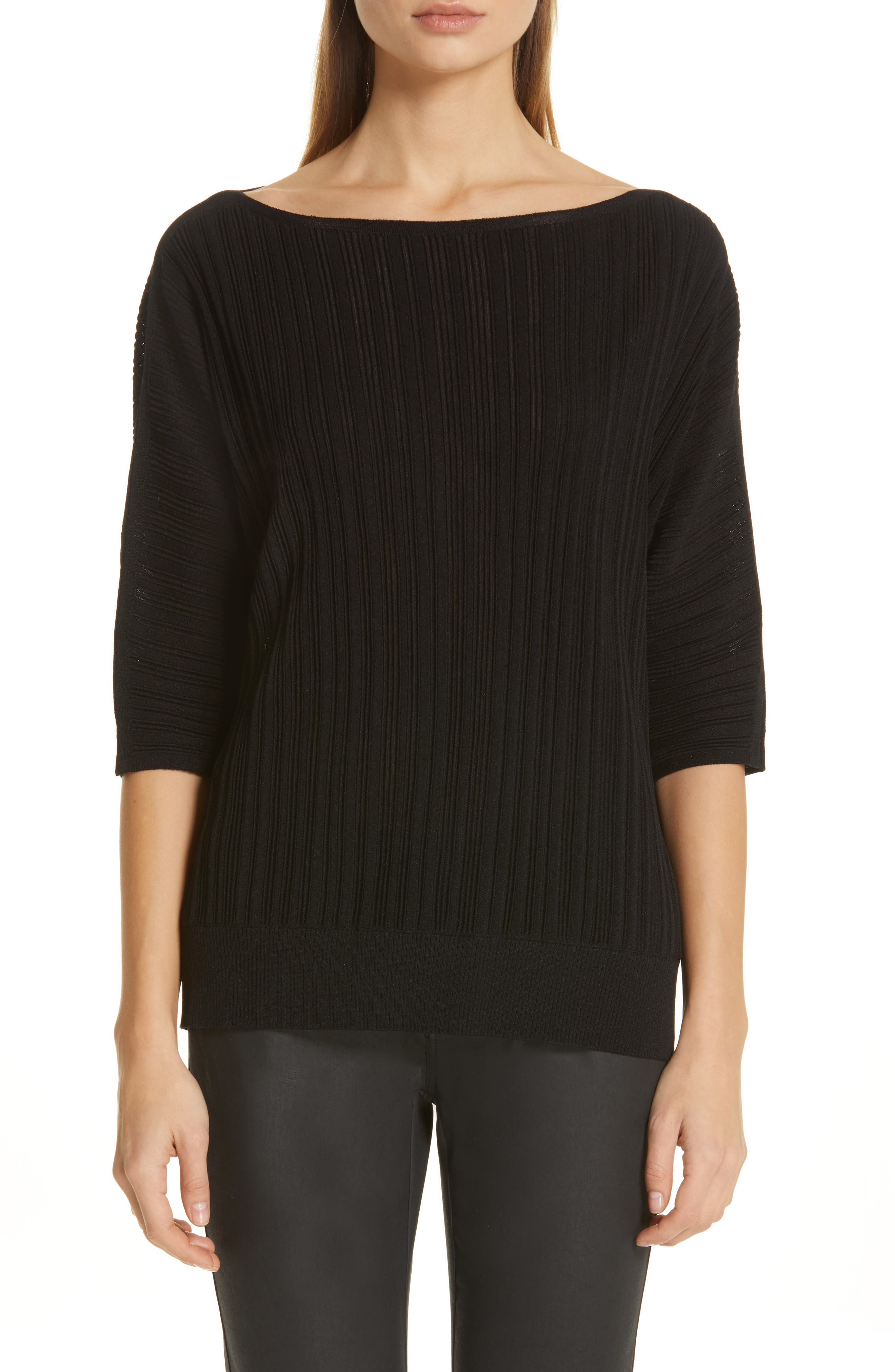 LAFAYETTE 148 NEW YORK, Plissé Ribbed Dolman Sweater, Main thumbnail 1, color, BLACK