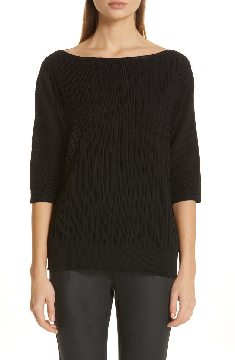 Lafayette 148 Sweaters PLISSE RIBBED DOLMAN SWEATER