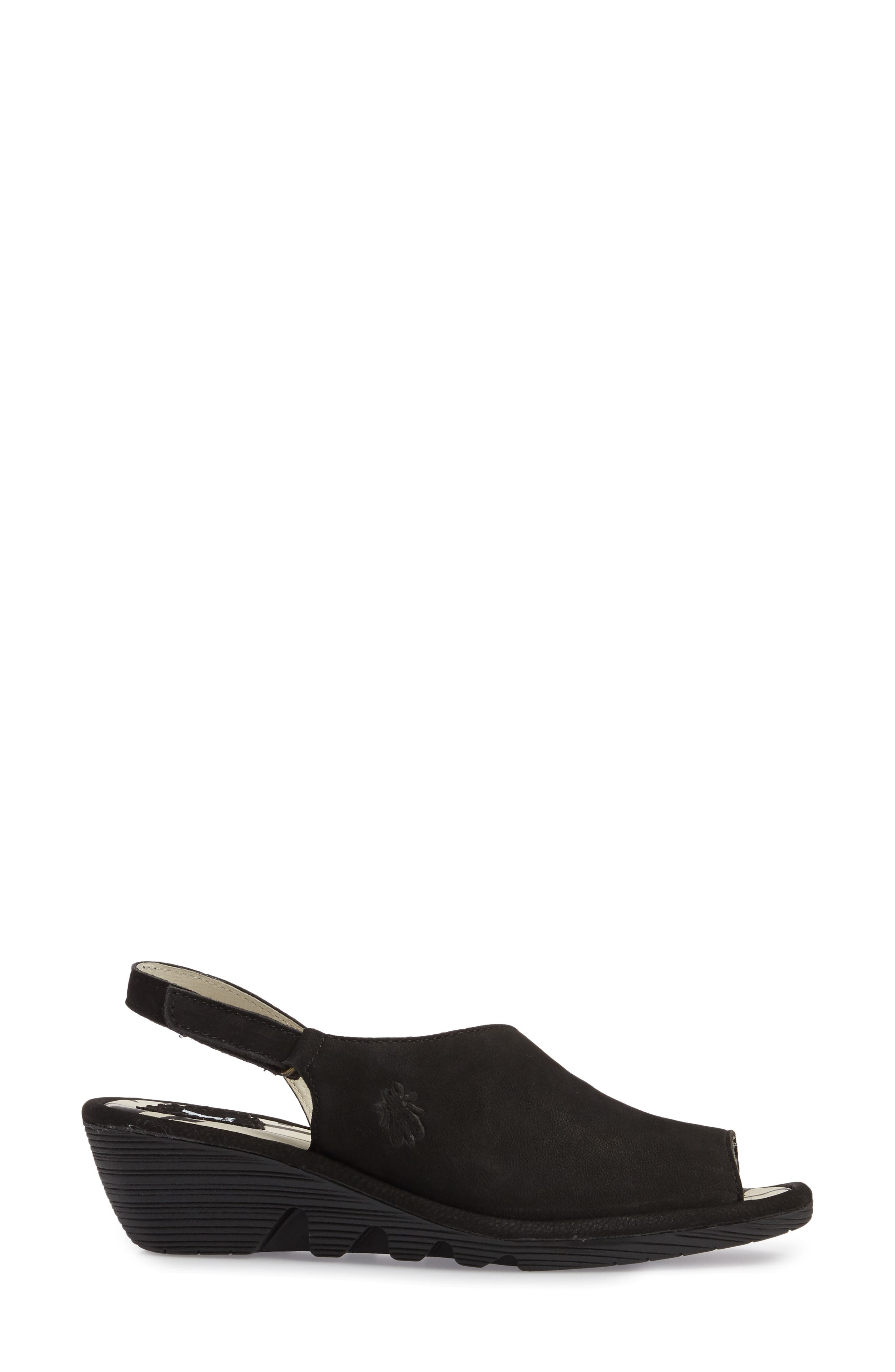 FLY LONDON, Palp Wedge Sandal, Alternate thumbnail 3, color, BLACK CUPIDO LEATHER