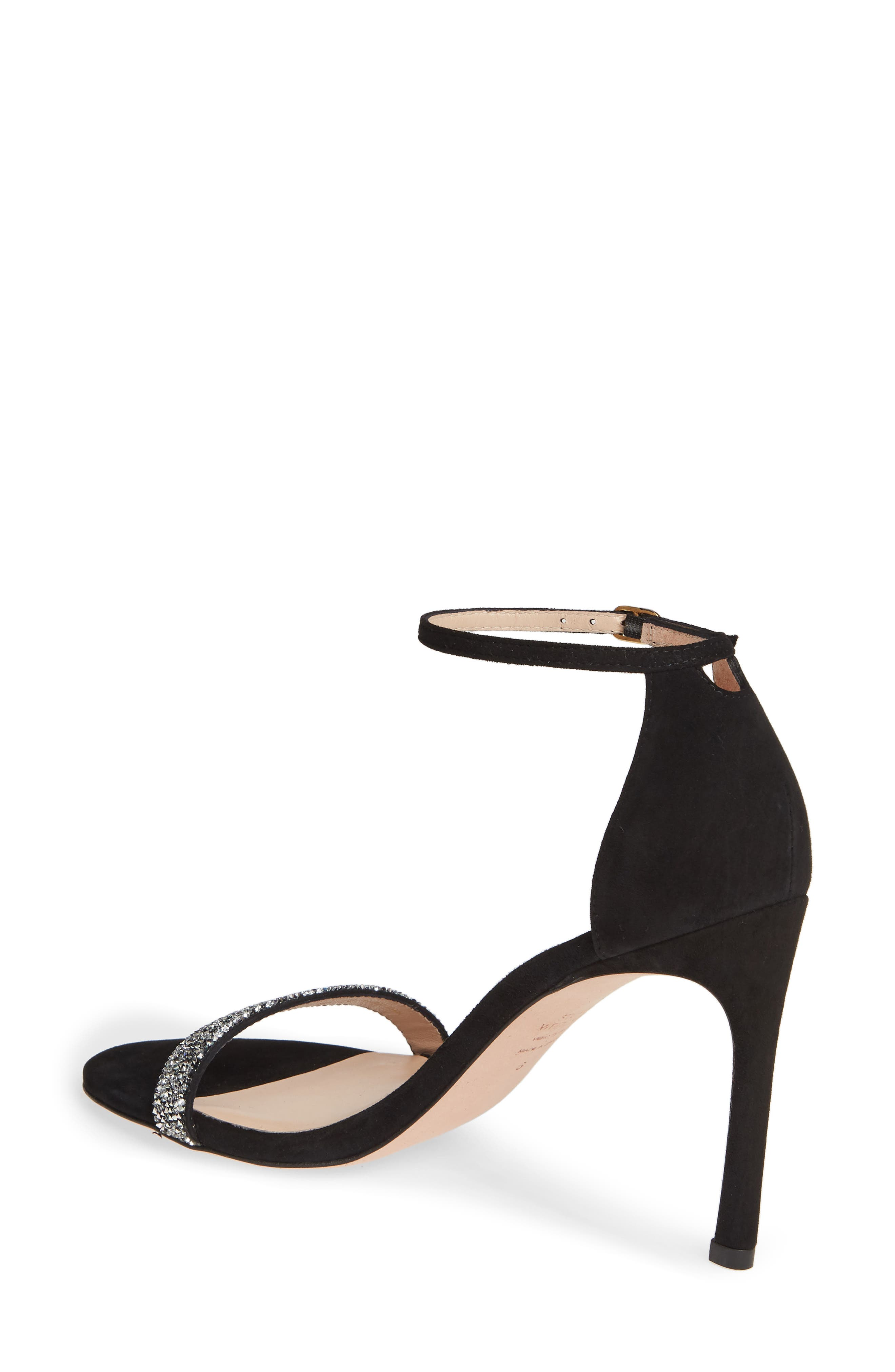 STUART WEITZMAN, Nudistsong Ankle Strap Sandal, Alternate thumbnail 2, color, BLACK