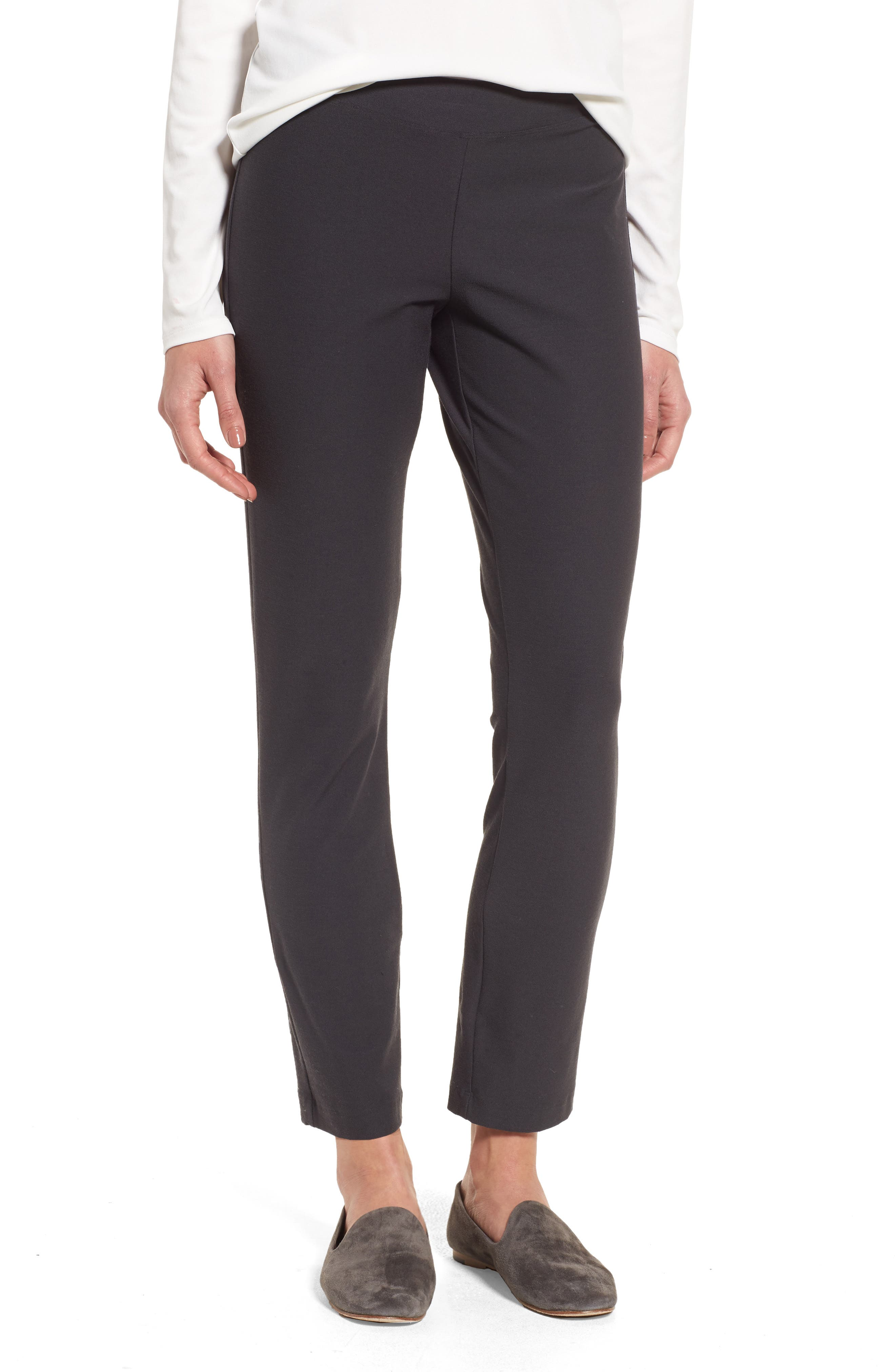 EILEEN FISHER Stretch Crepe Ankle Pants, Main, color, GRAPHITE