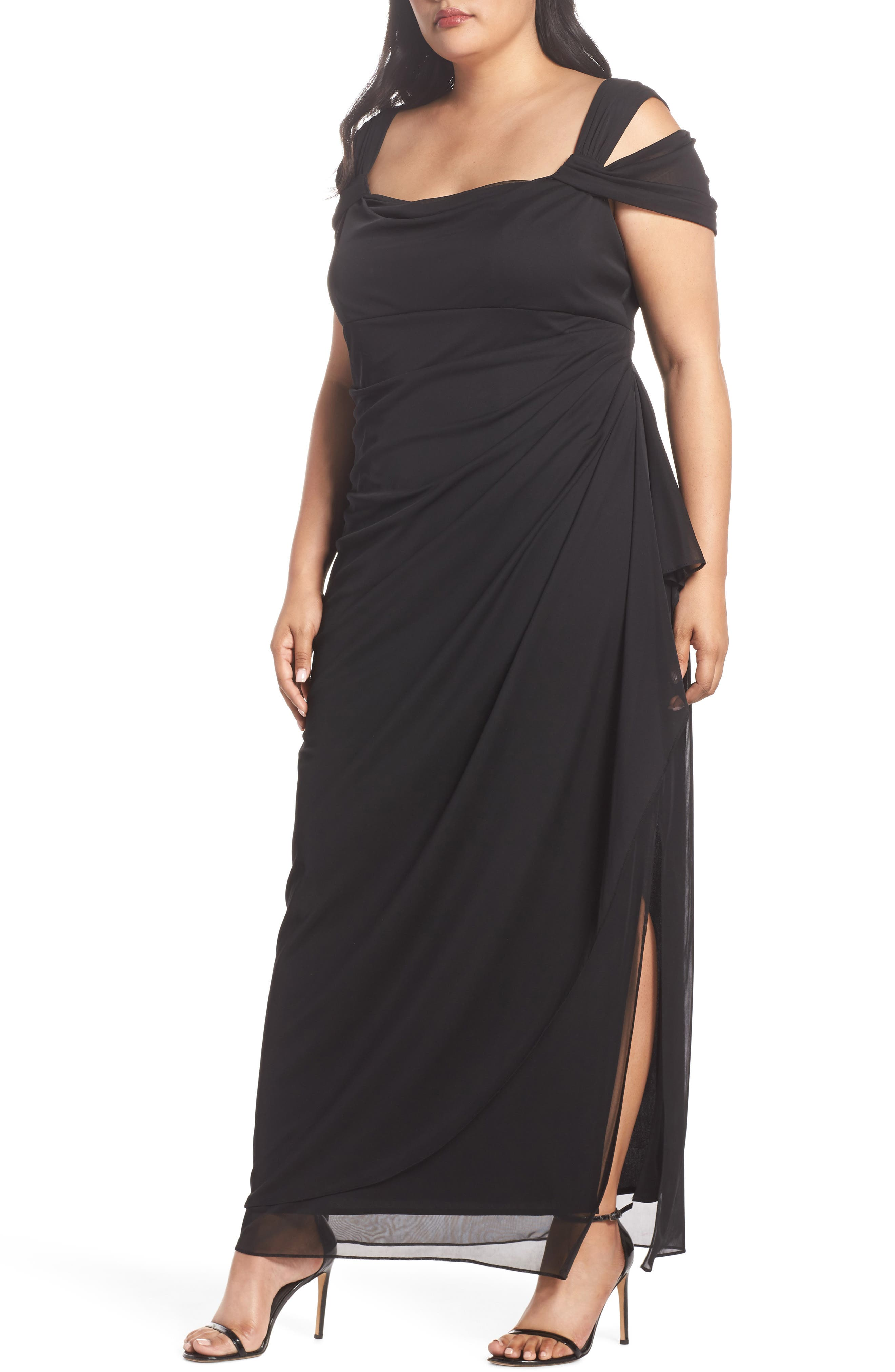 Plus Size Alex Evenings Cold Shoulder Mesh Gown, Black