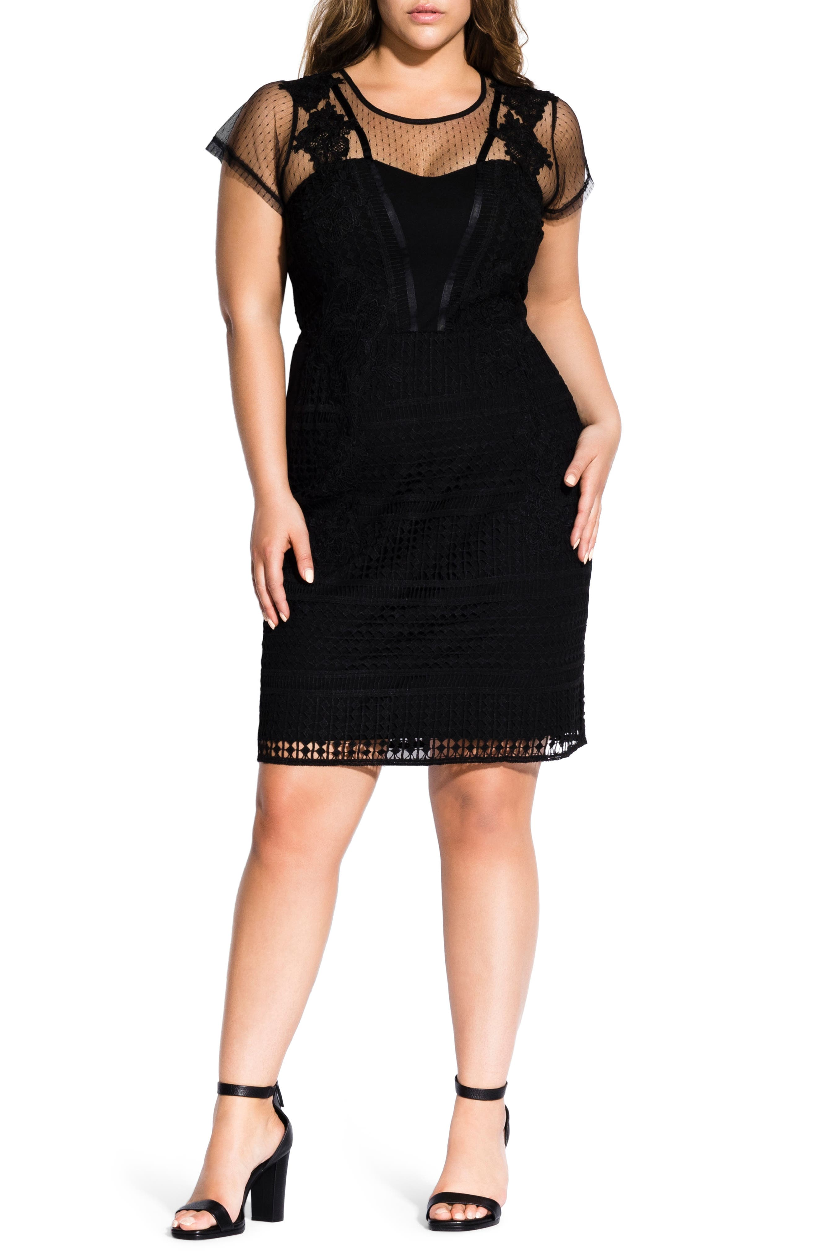 Plus Size City Chic Alette Lace Yoke Dress, Black