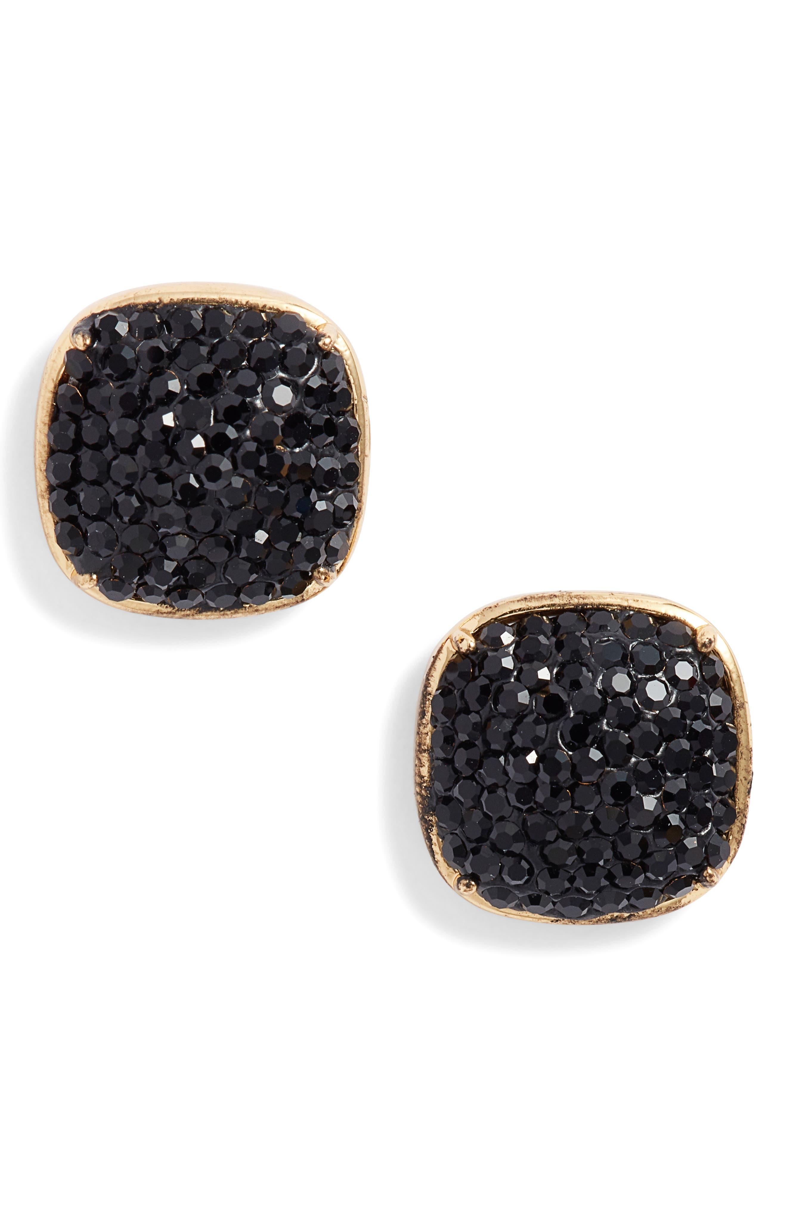 KATE SPADE NEW YORK pavé small square stud earrings, Main, color, JET