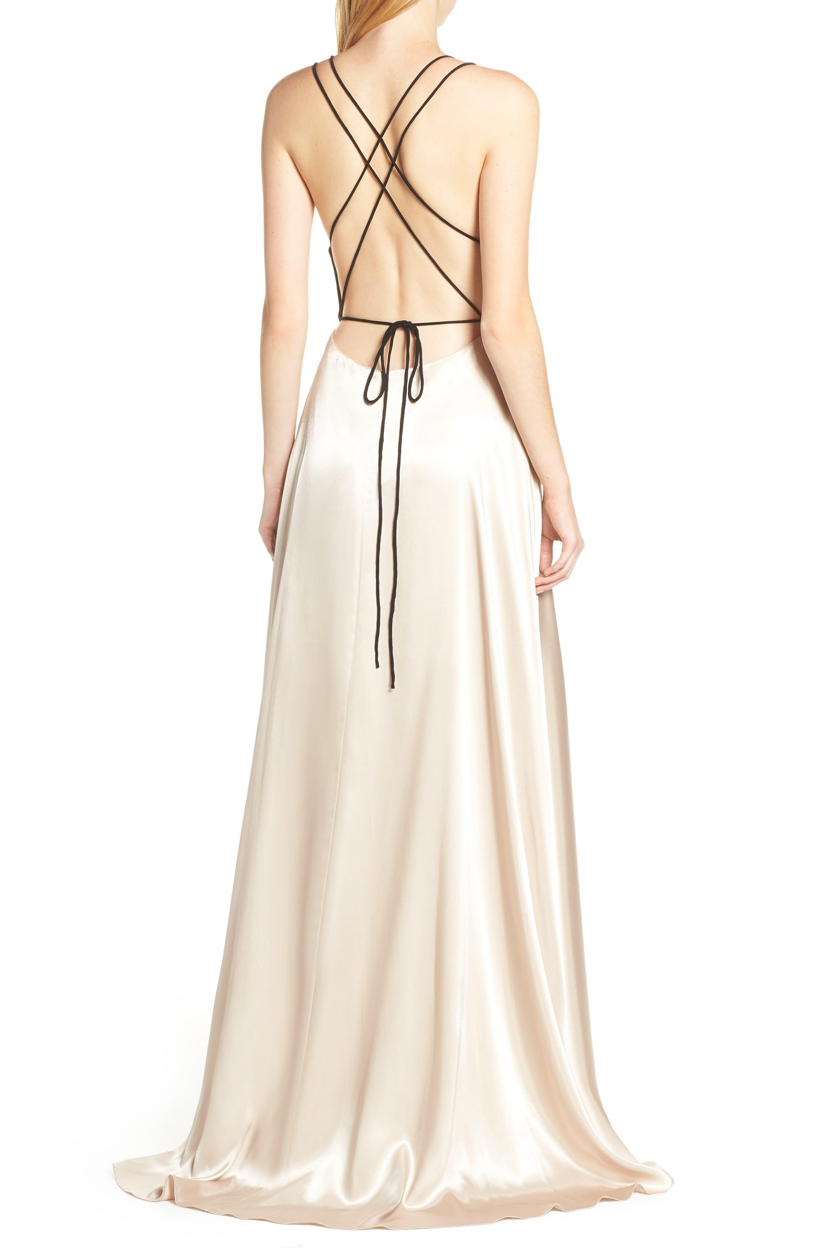 BLONDIE NITES, Strappy Back Crepe & Charmeuse Evening Dress, Alternate thumbnail 2, color, BLACK/ GOLD