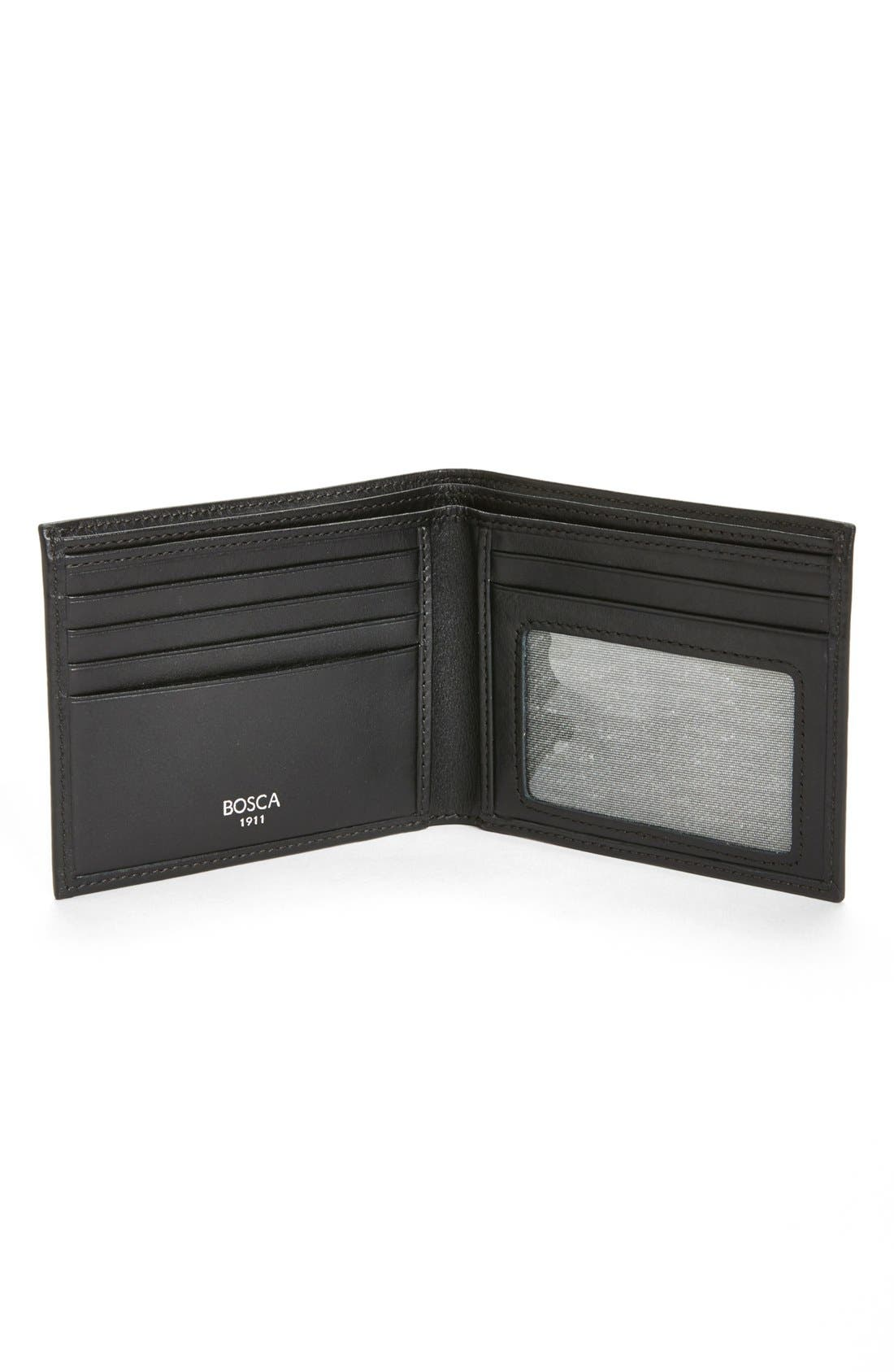 BOSCA, 'Executive ID' Nappa Leather Wallet, Alternate thumbnail 4, color, BLACK