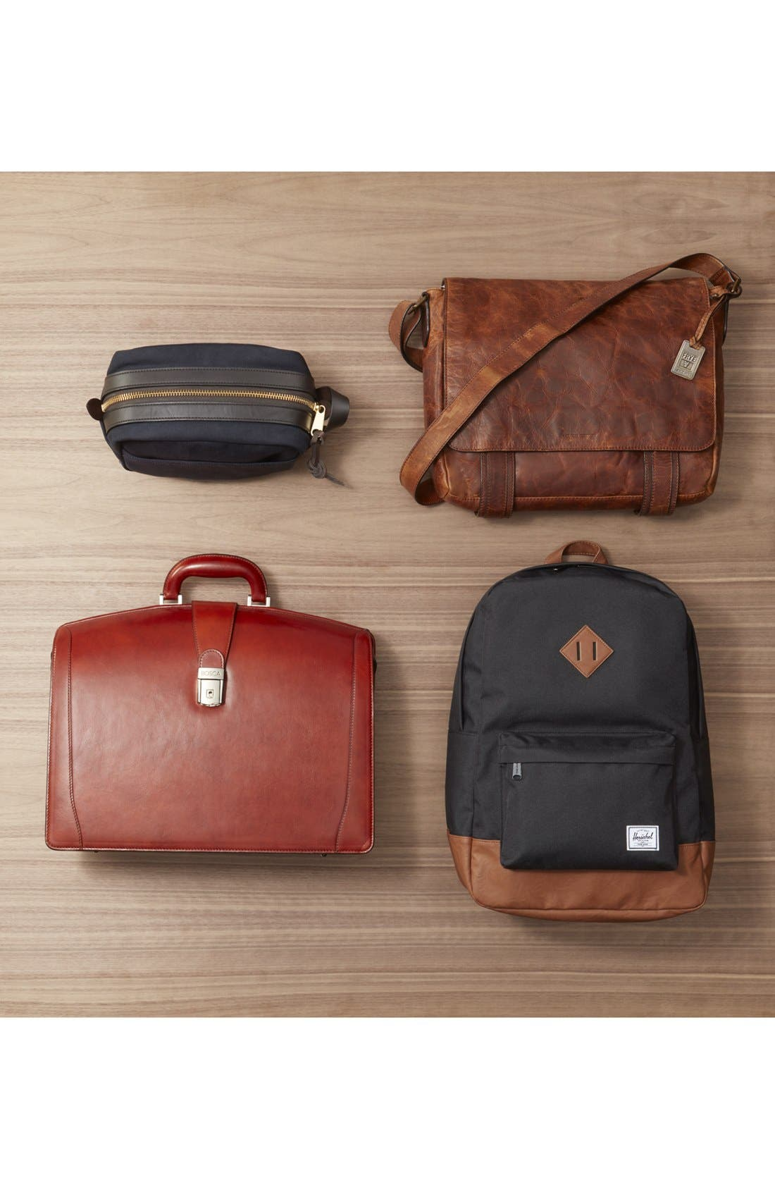 BOSCA, Triple Compartment Leather Briefcase, Alternate thumbnail 5, color, AMBER