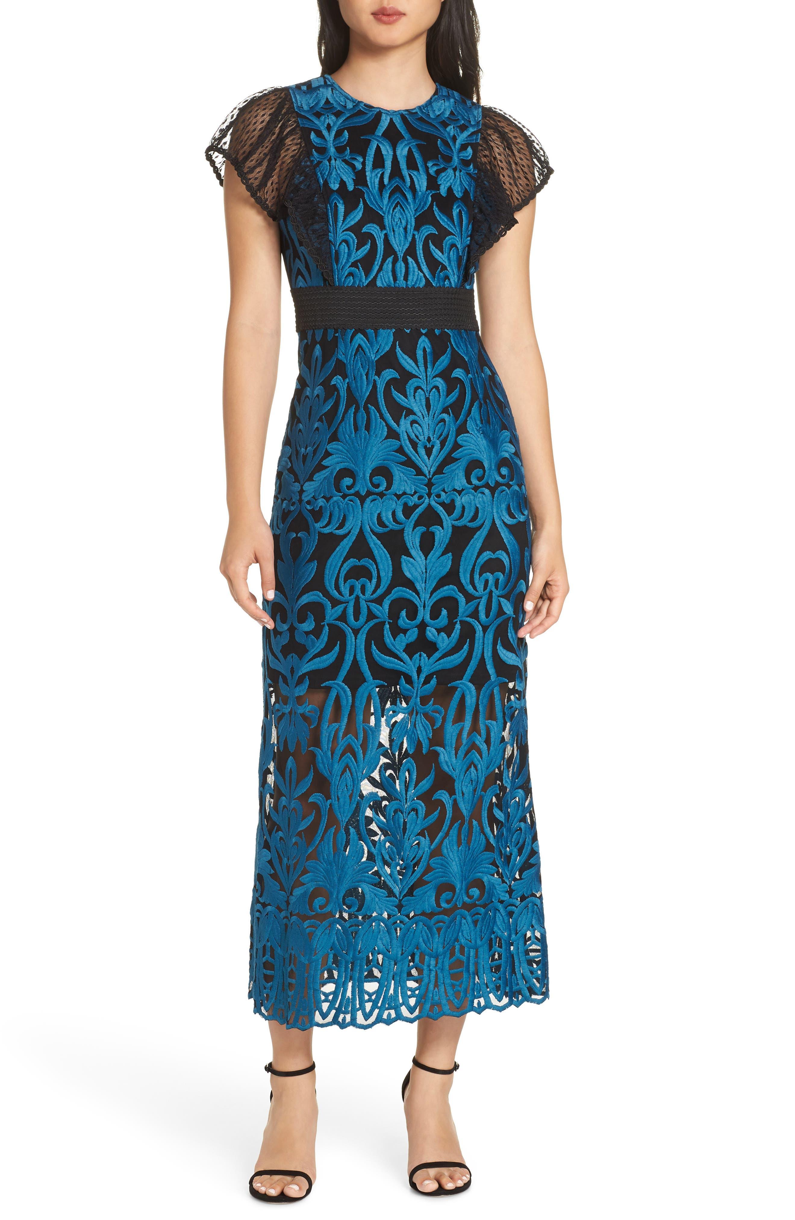 FOXIEDOX, Rosalynn Lace Midi Dress, Main thumbnail 1, color, 440