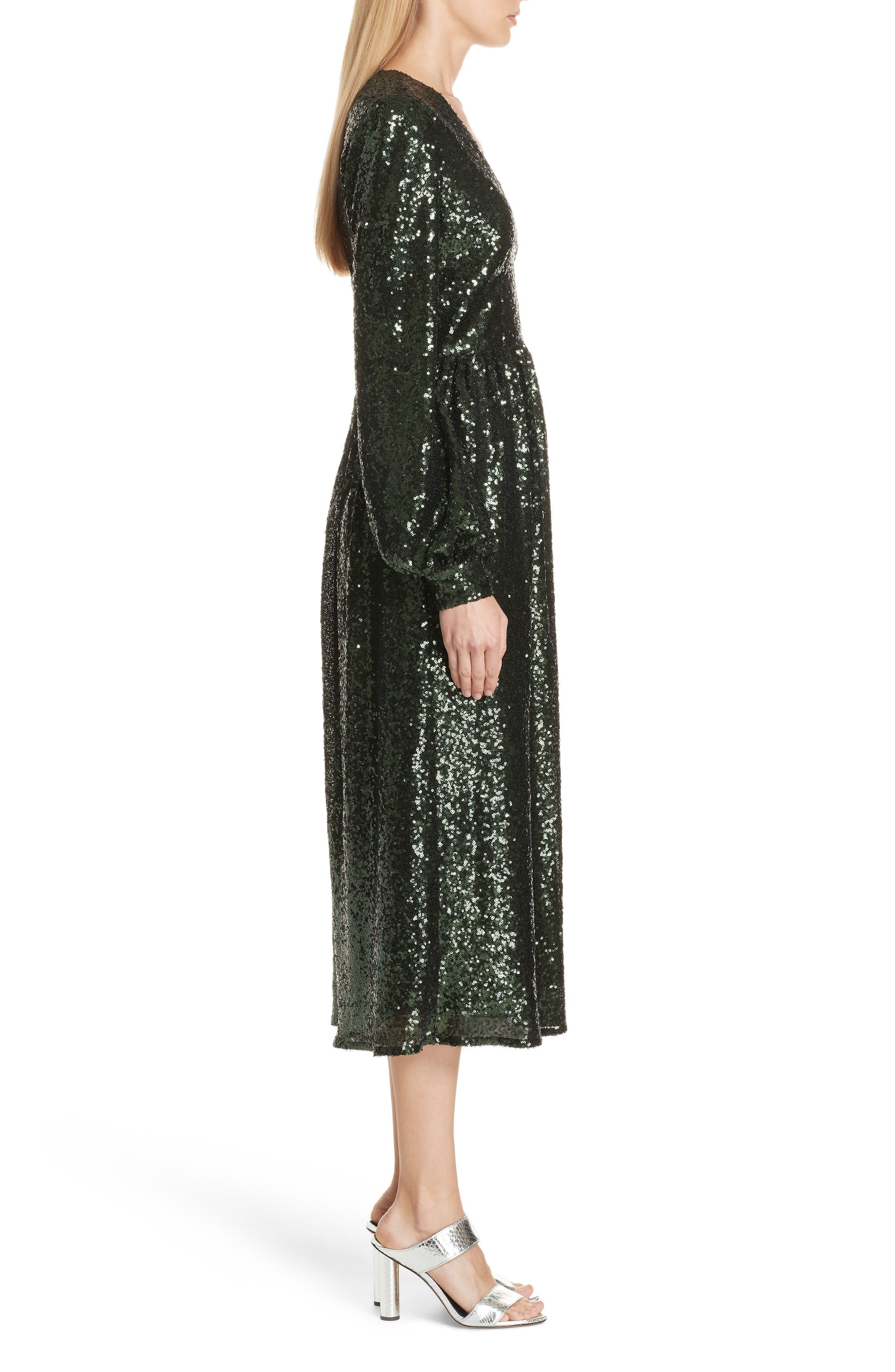 SALONI, Camille Sequin Midi Dress, Alternate thumbnail 4, color, DARK GREEN