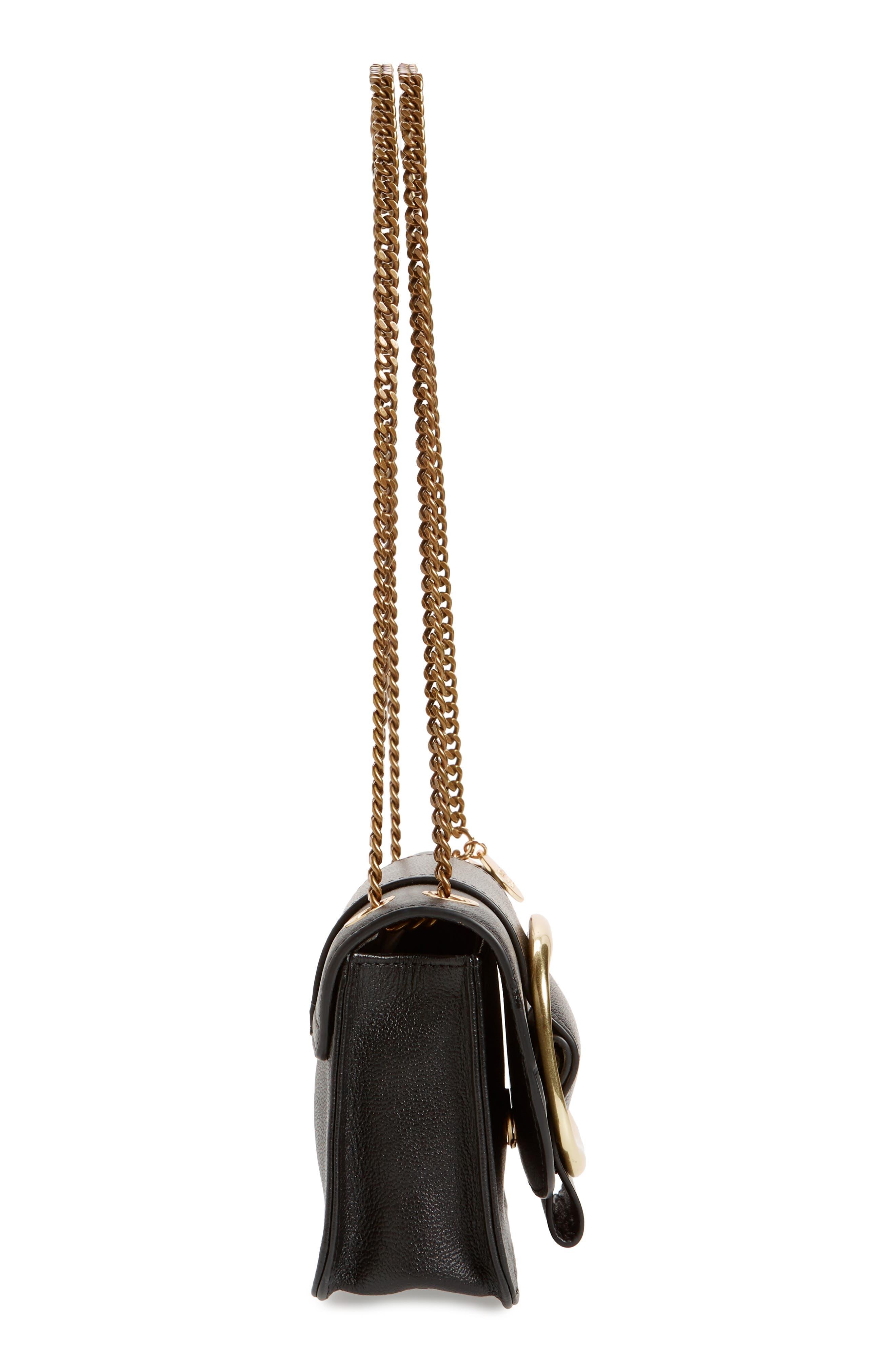 SEE BY CHLOÉ, Hopper Leather Shoulder Bag, Alternate thumbnail 6, color, 001