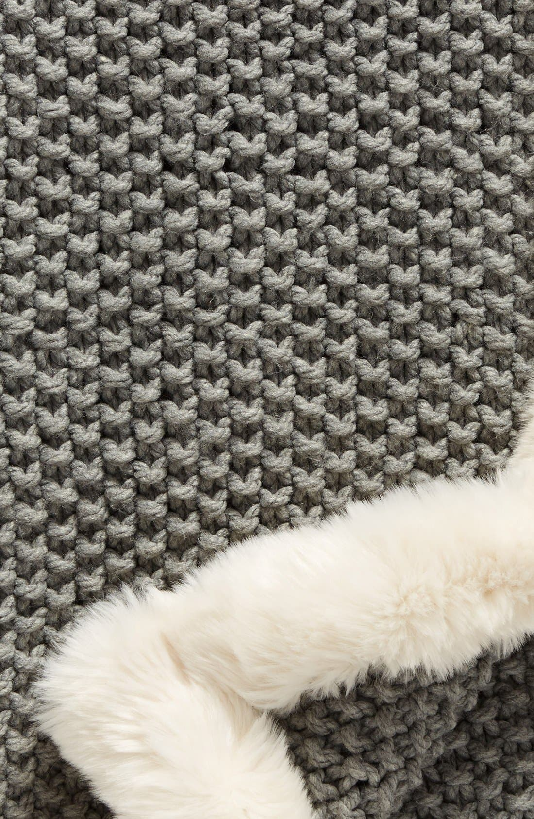 NORDSTROM AT HOME, Faux Fur Border Knit Throw, Alternate thumbnail 2, color, 020