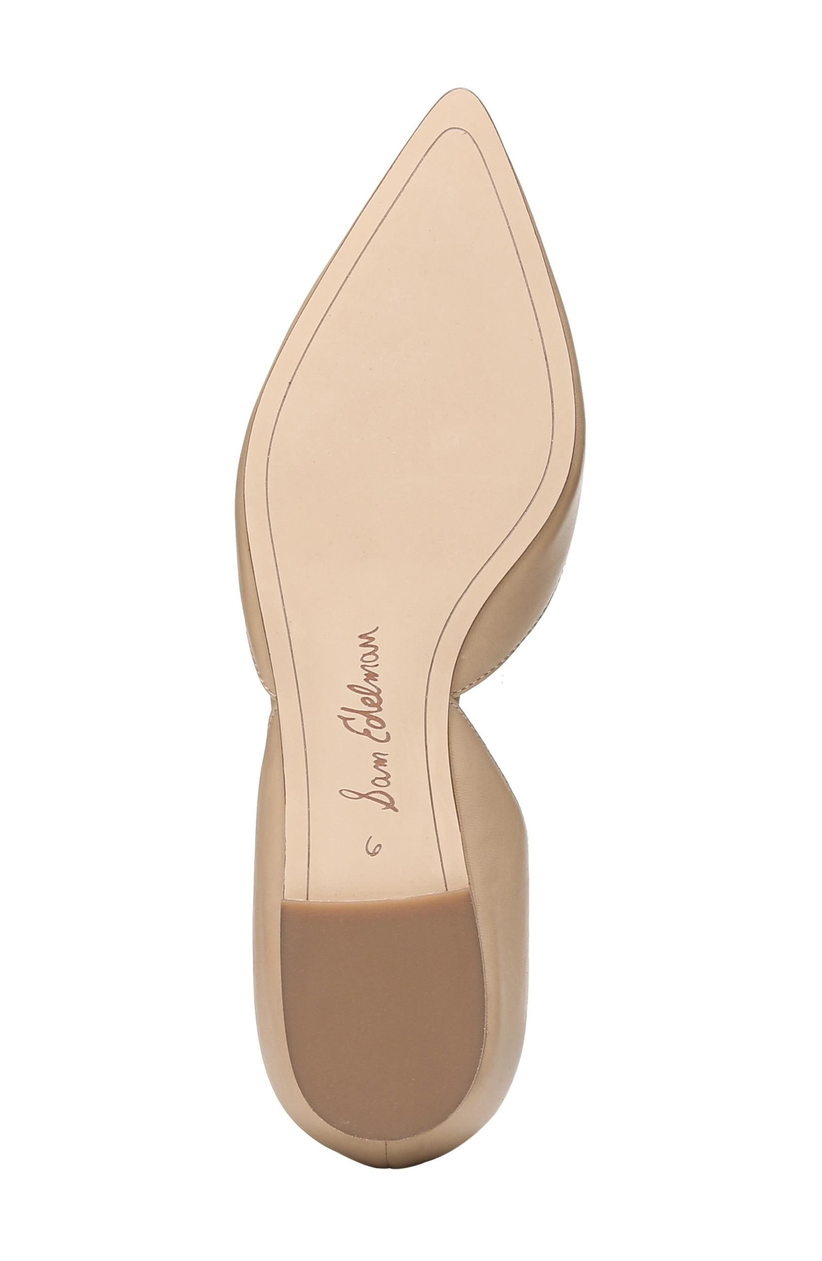 SAM EDELMAN, Rodney Pointy Toe d'Orsay Flat, Alternate thumbnail 6, color, CLASSIC NUDE LEATHER