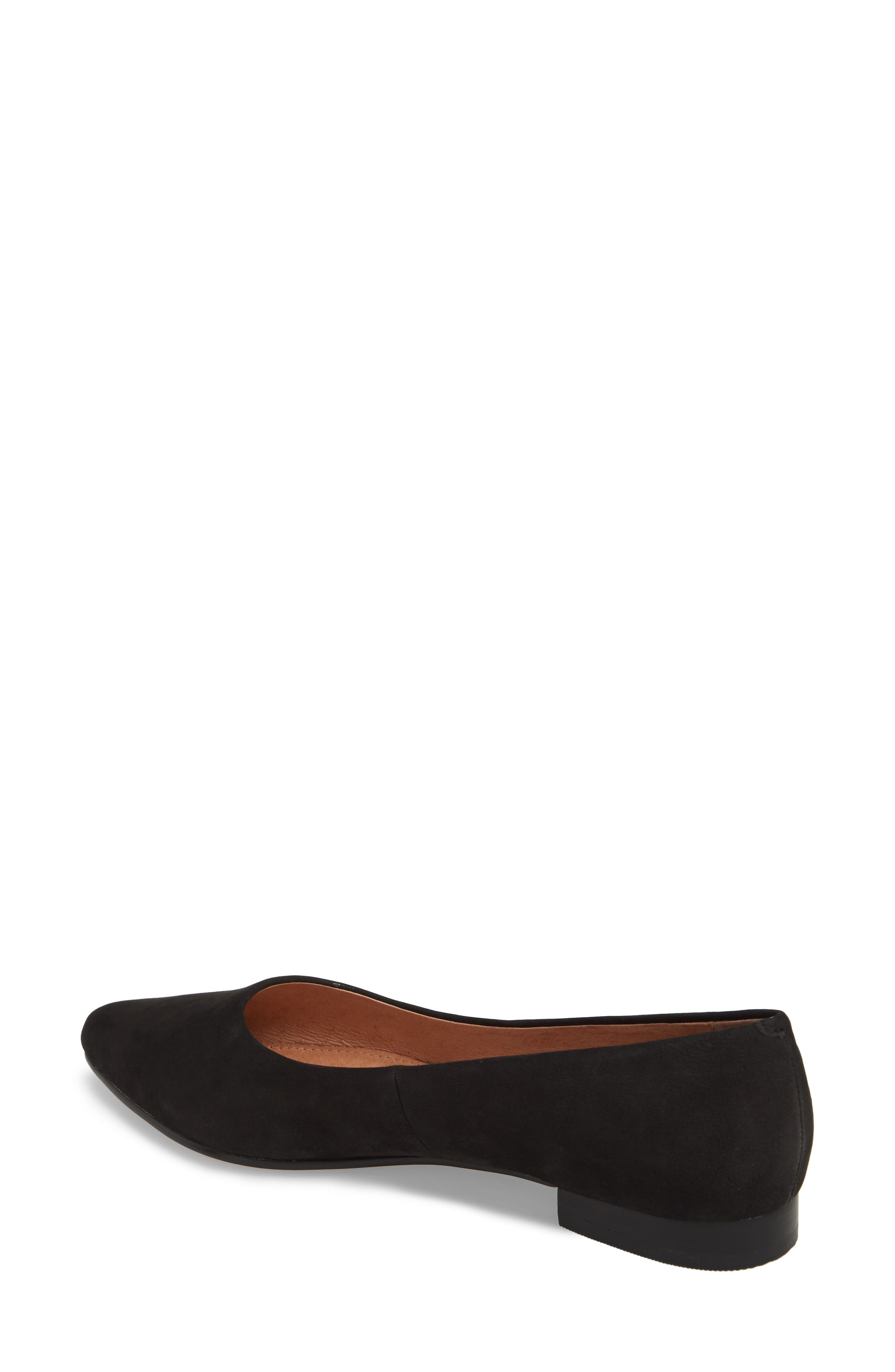 CASLON<SUP>®</SUP>, Luna Pointy Toe Flat, Alternate thumbnail 2, color, BLACK NUBUCK