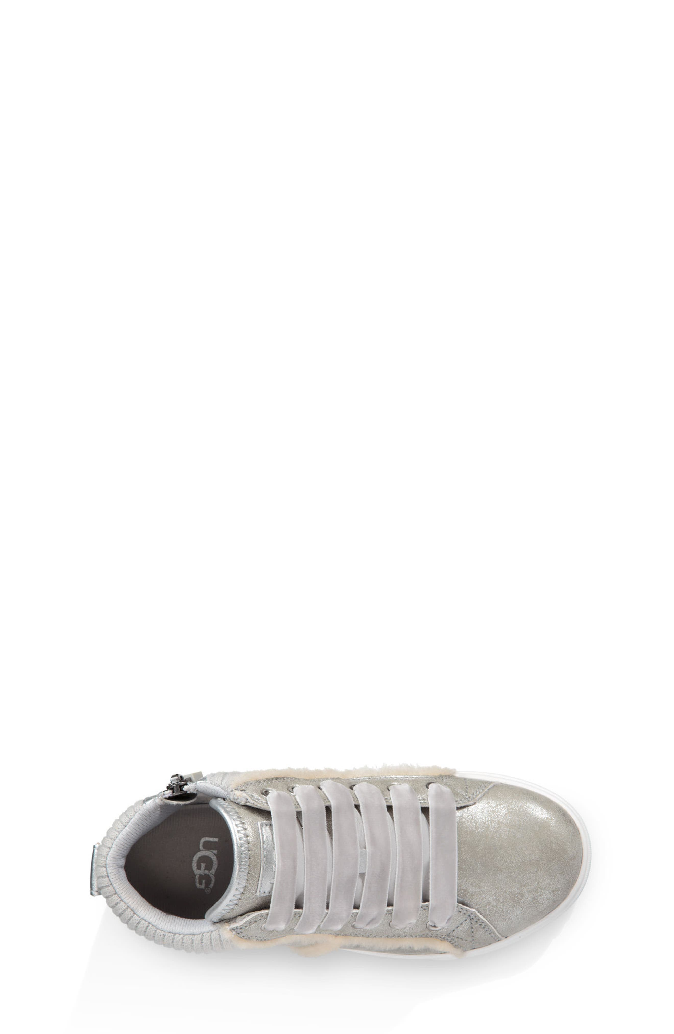 UGG<SUP>®</SUP>, Addie High Top Sneaker, Alternate thumbnail 3, color, SILVER