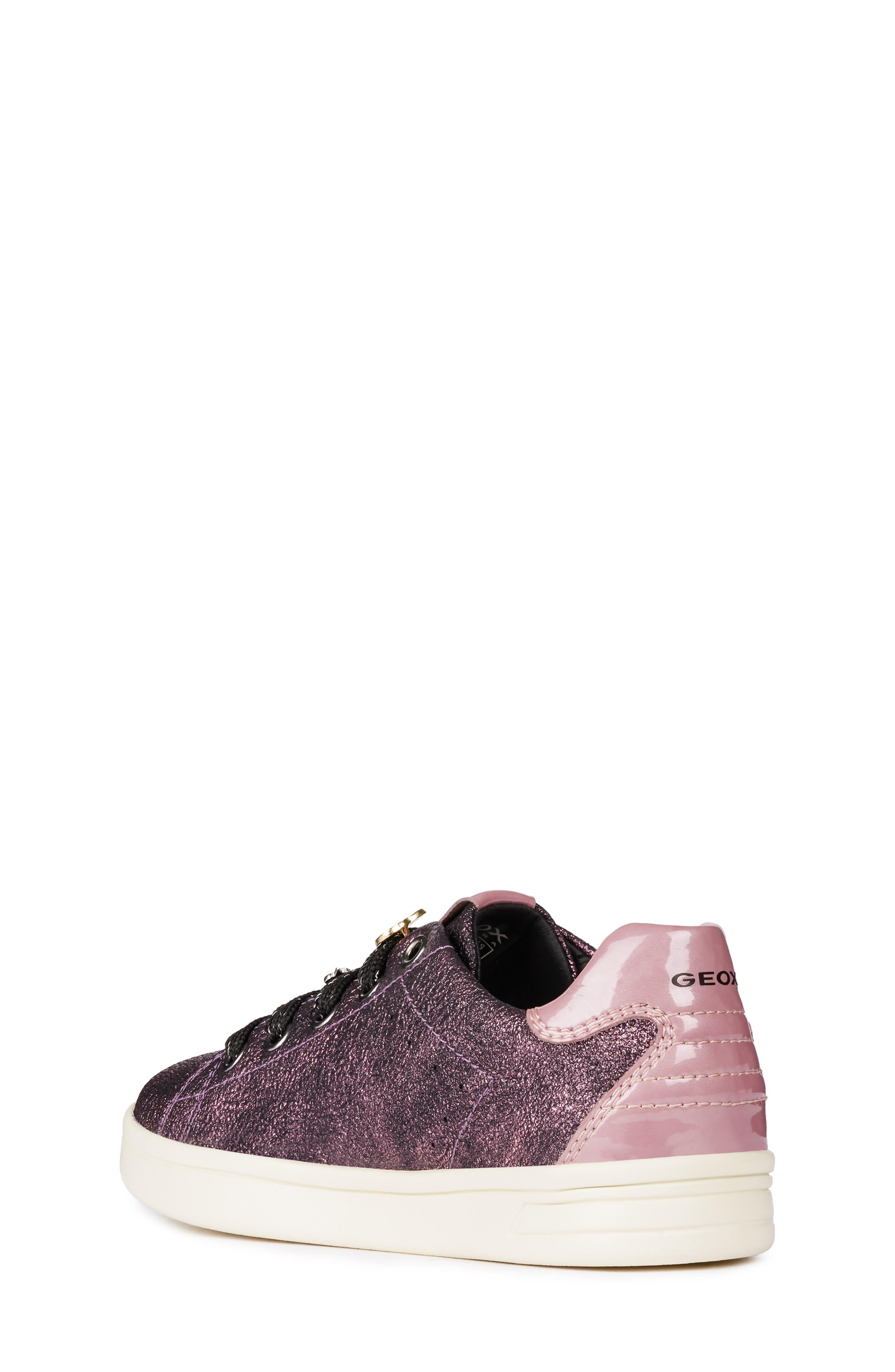 GEOX, DJ Rock Metallic Sneaker, Alternate thumbnail 2, color, DARK ROSE