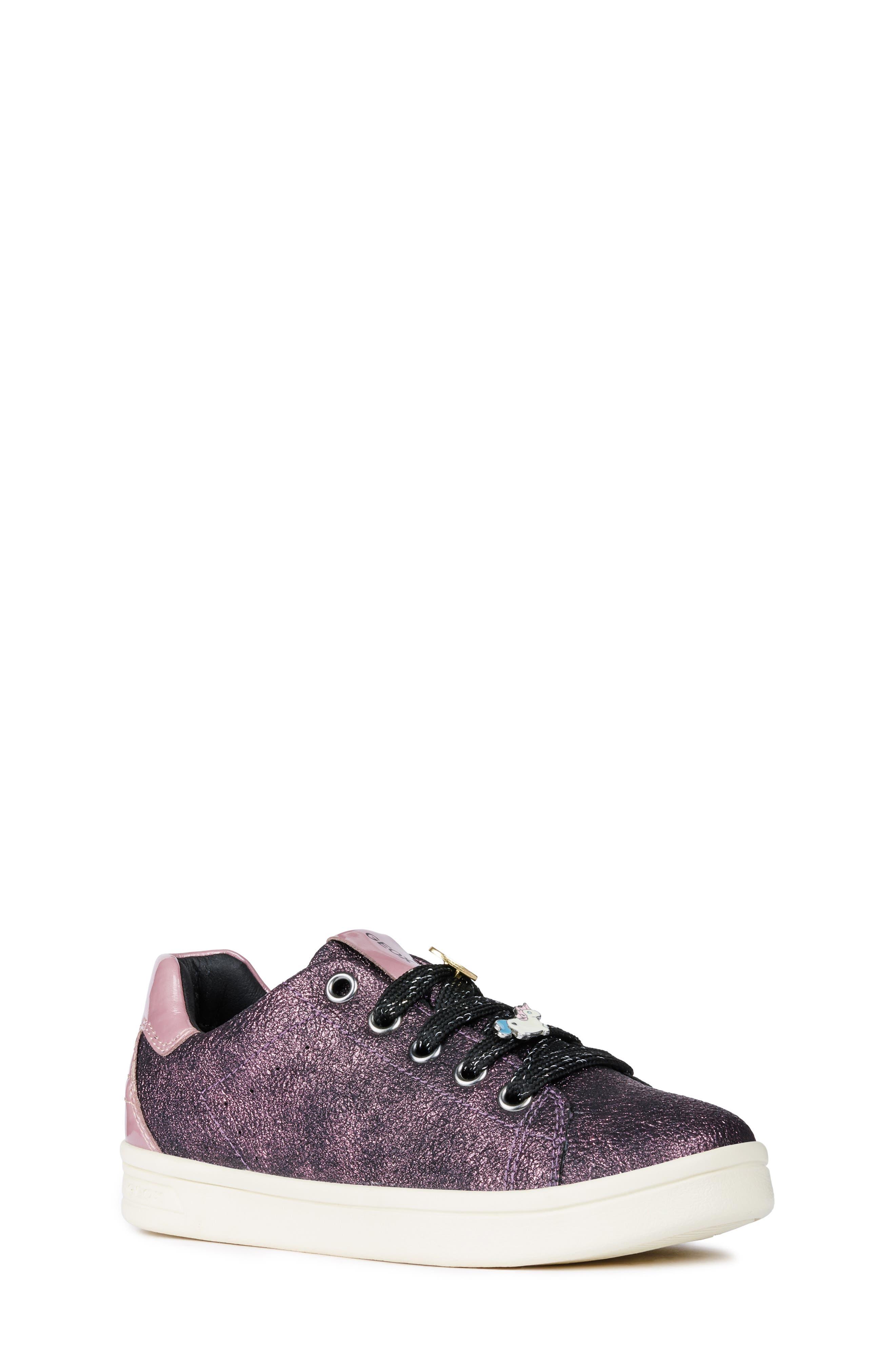 GEOX, DJ Rock Metallic Sneaker, Main thumbnail 1, color, DARK ROSE