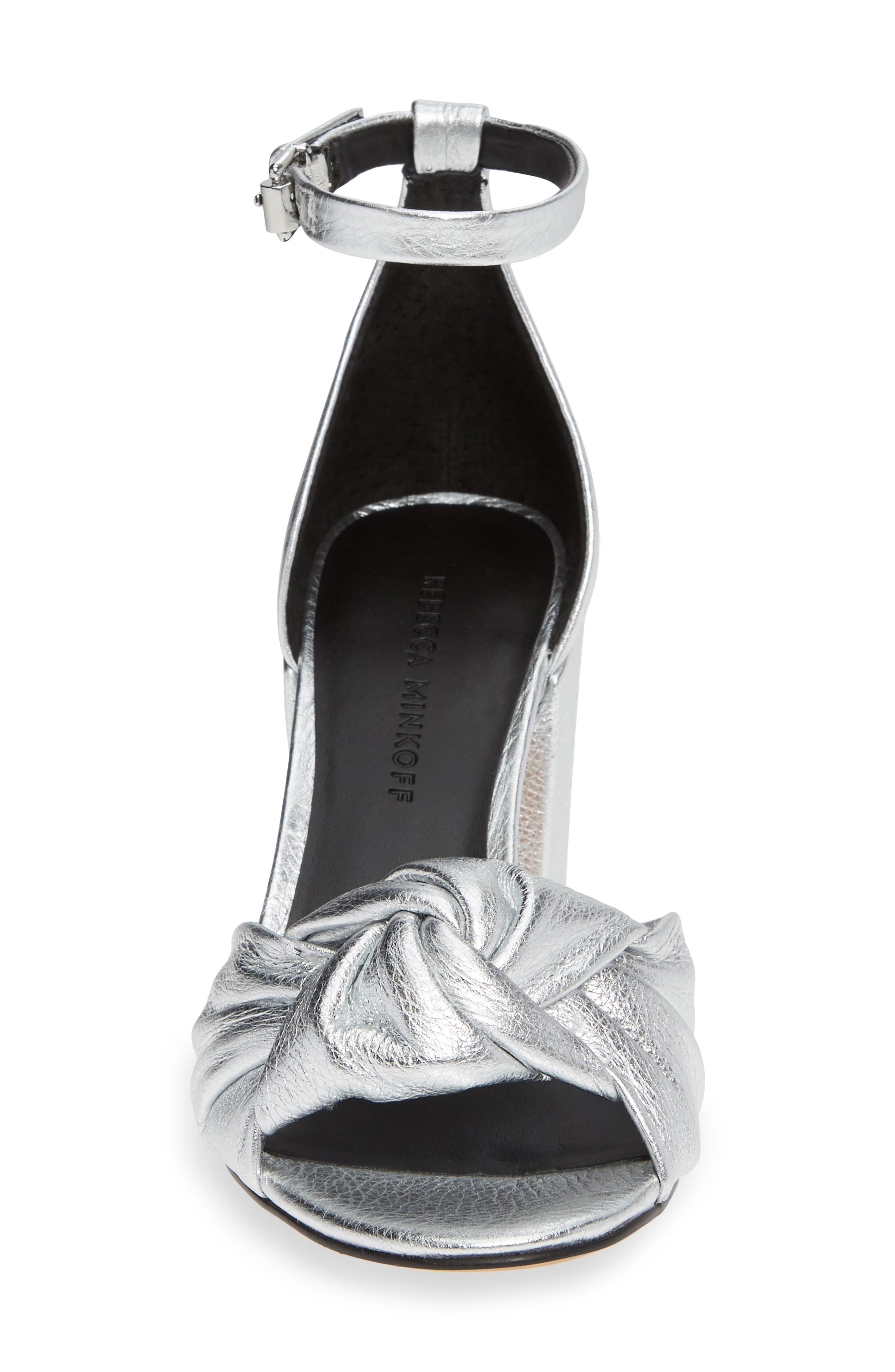 REBECCA MINKOFF, Capriana Ankle Strap Sandal, Alternate thumbnail 4, color, SILVER LEATHER