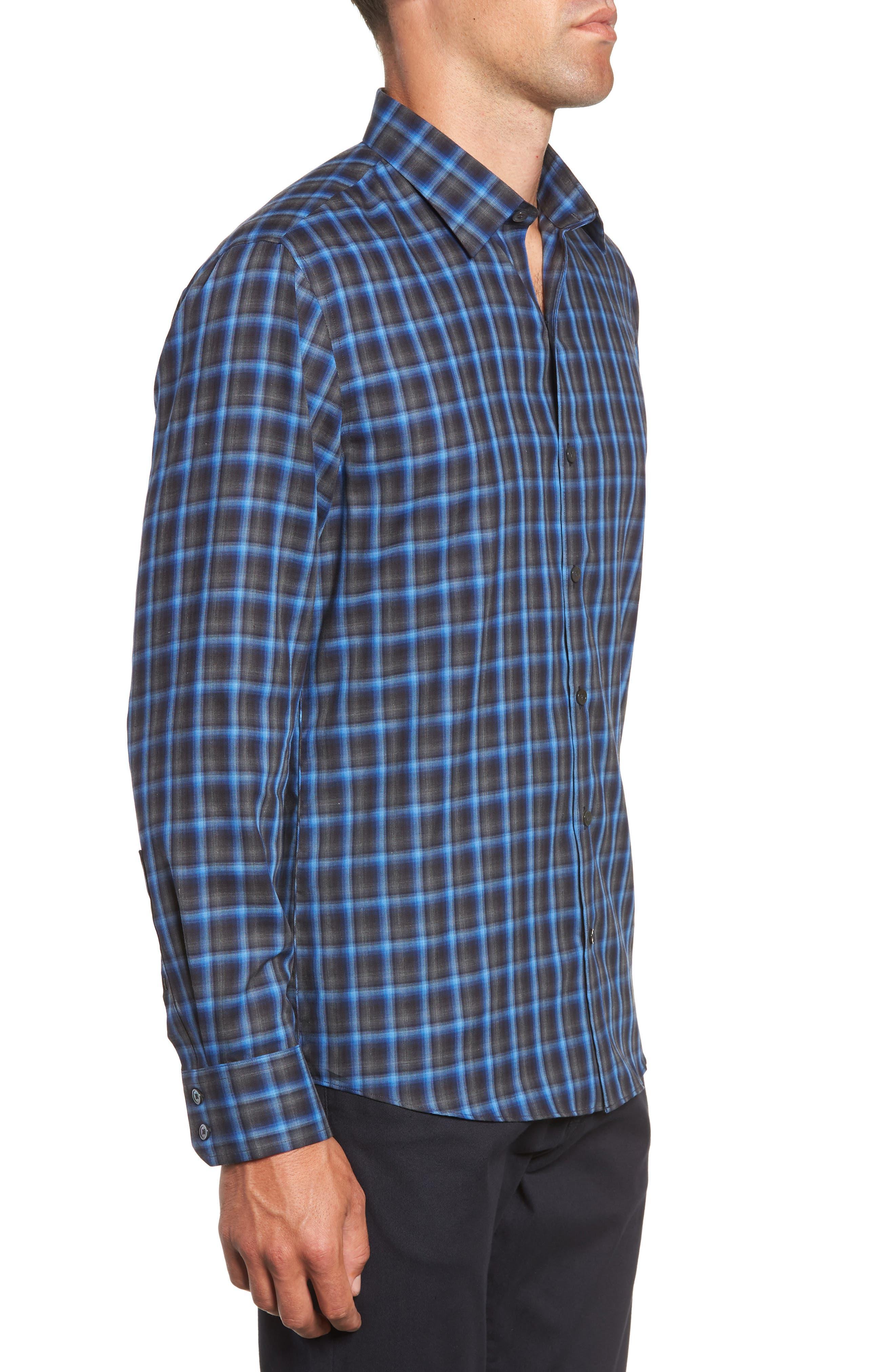 ZACHARY PRELL, Danise Regular Fit Check Sport Shirt, Alternate thumbnail 4, color, ROYAL BLUE