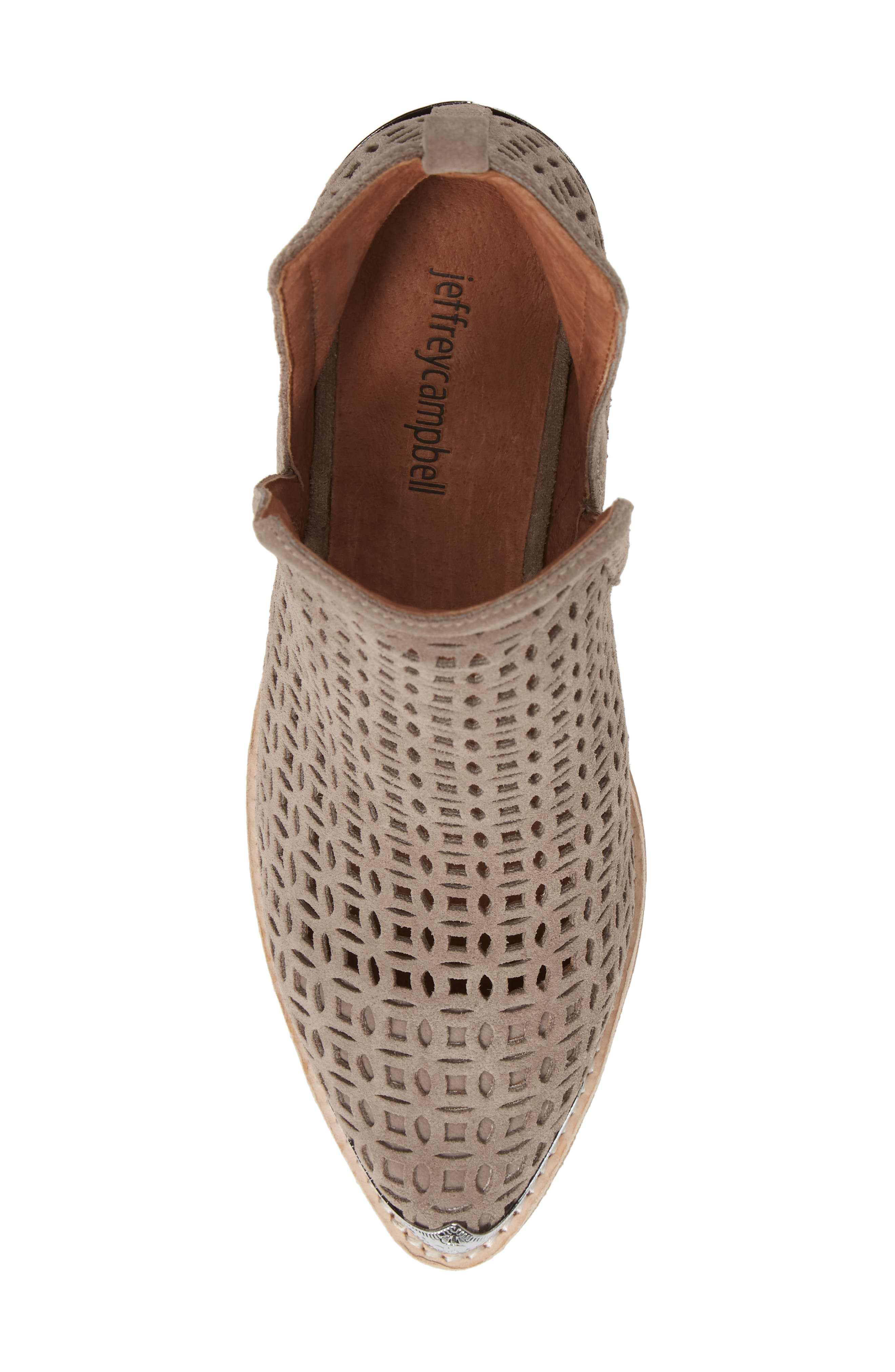 JEFFREY CAMPBELL, Cromwell-C2 Perforated Bootie, Alternate thumbnail 5, color, TAUPE SUEDE