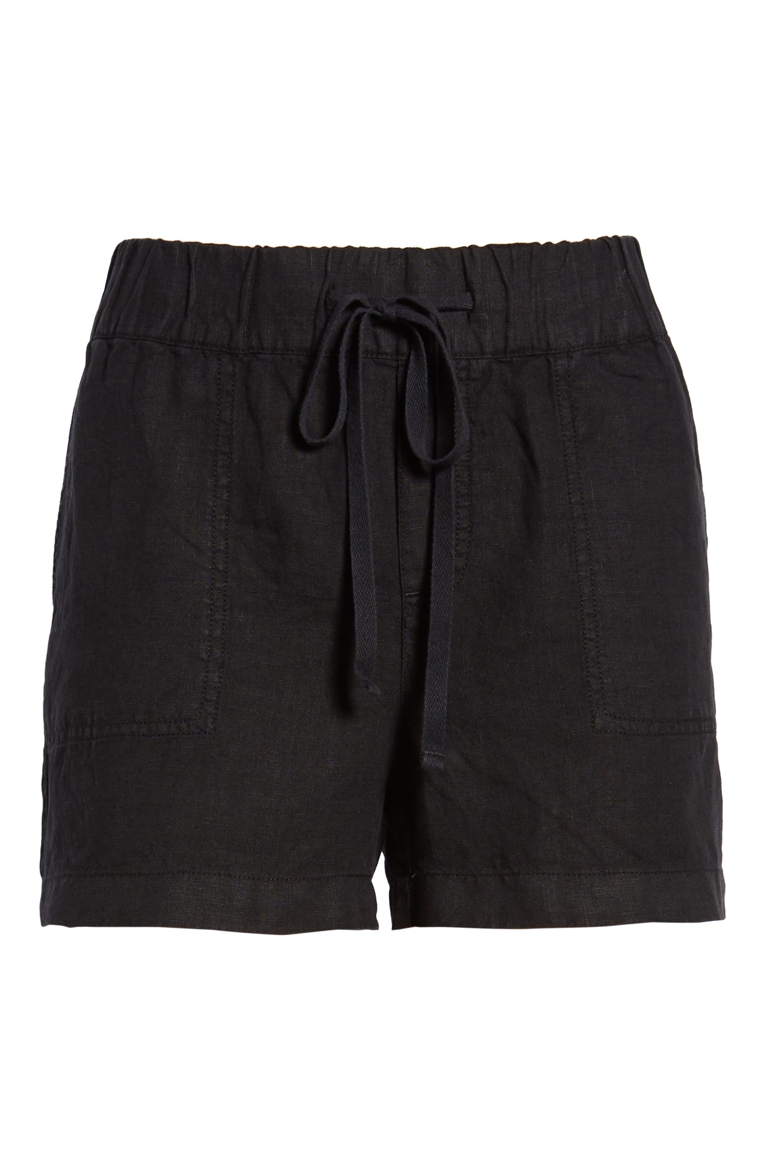 CASLON<SUP>®</SUP>, Linen Shorts, Alternate thumbnail 6, color, BLACK