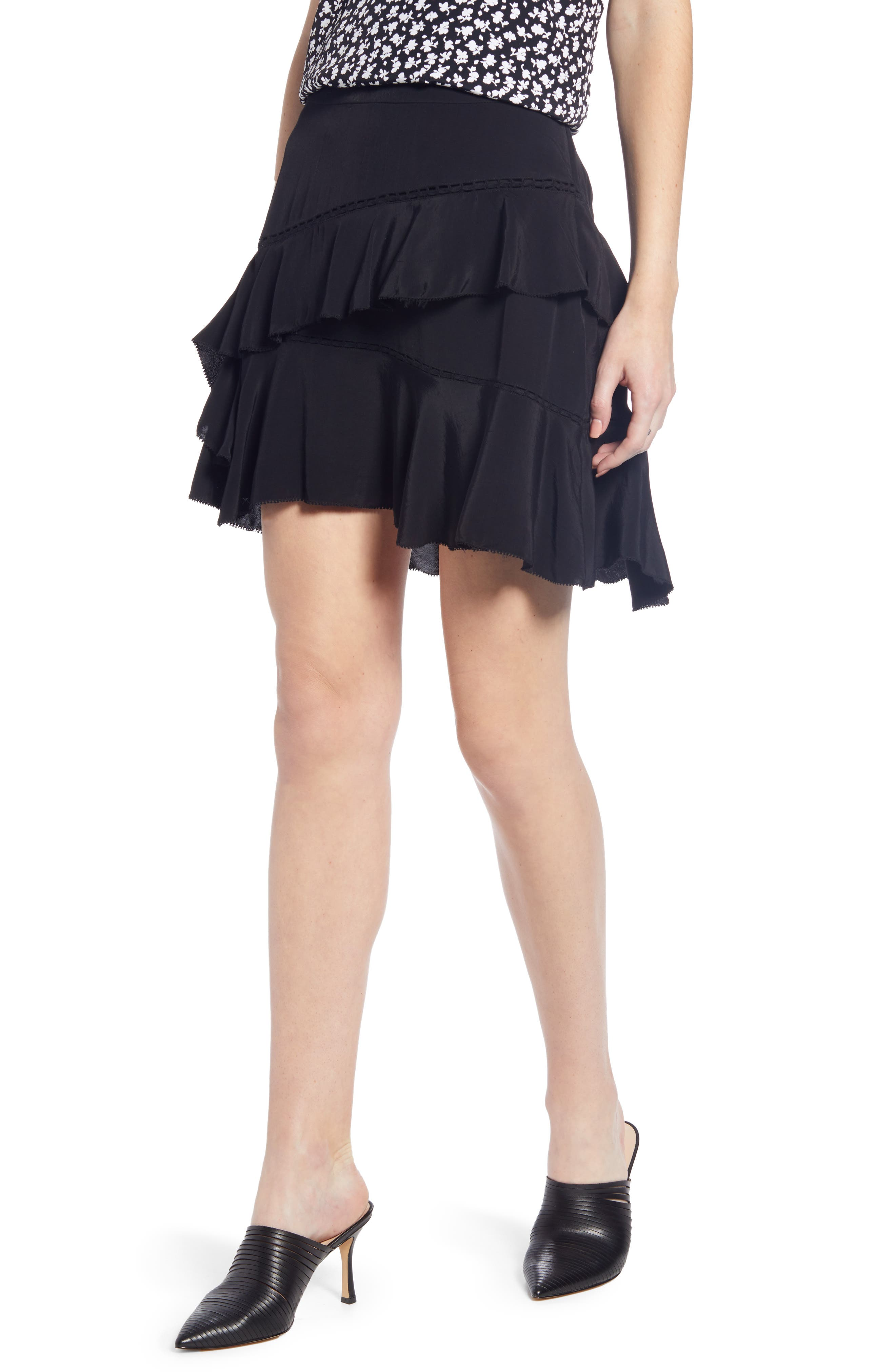 SOMETHING NAVY, Tiered Ruffle High/Low Miniskirt, Main thumbnail 1, color, BLACK