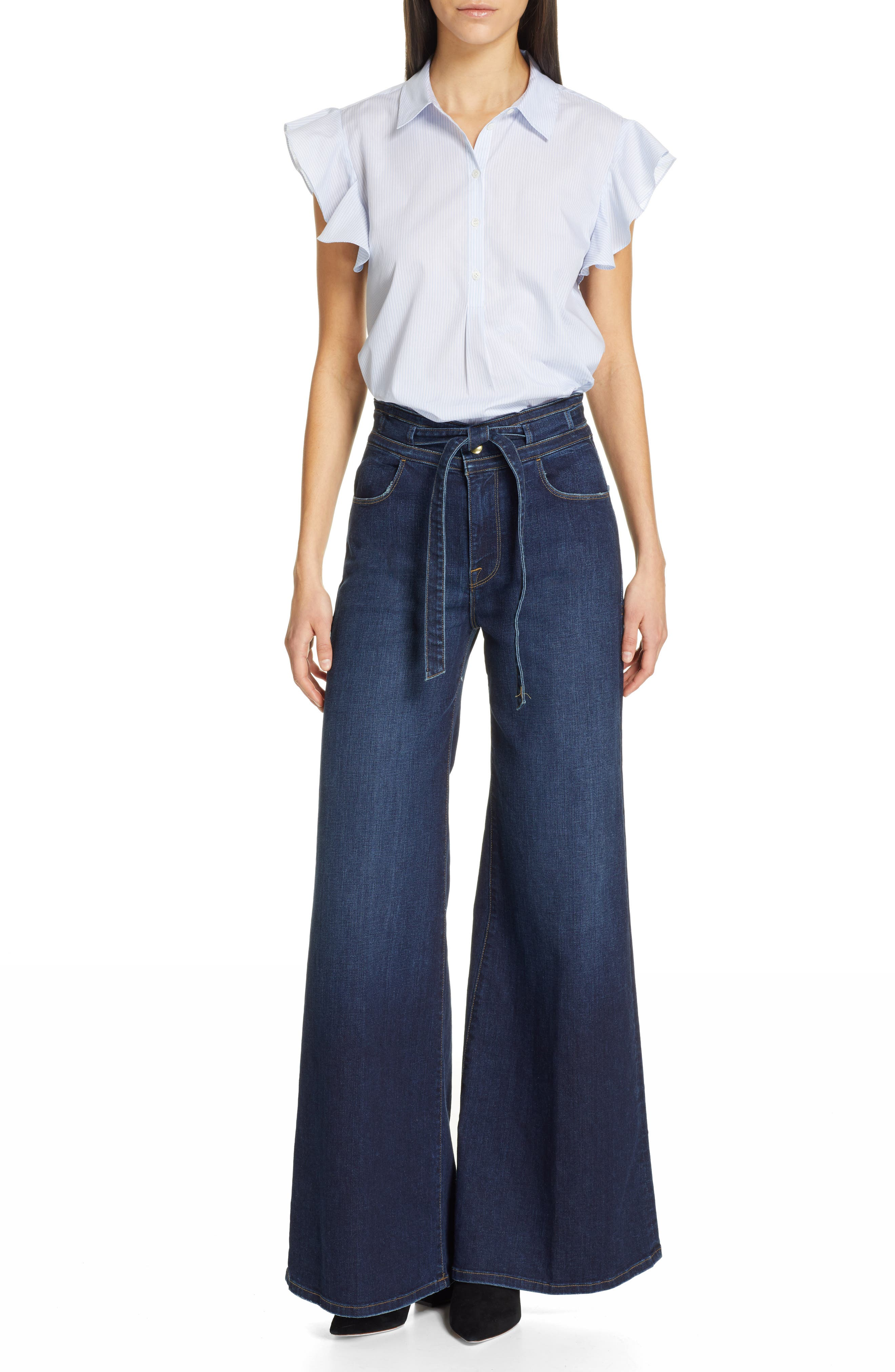FRAME, Belted Palazzo Jeans, Alternate thumbnail 8, color, MERIBO