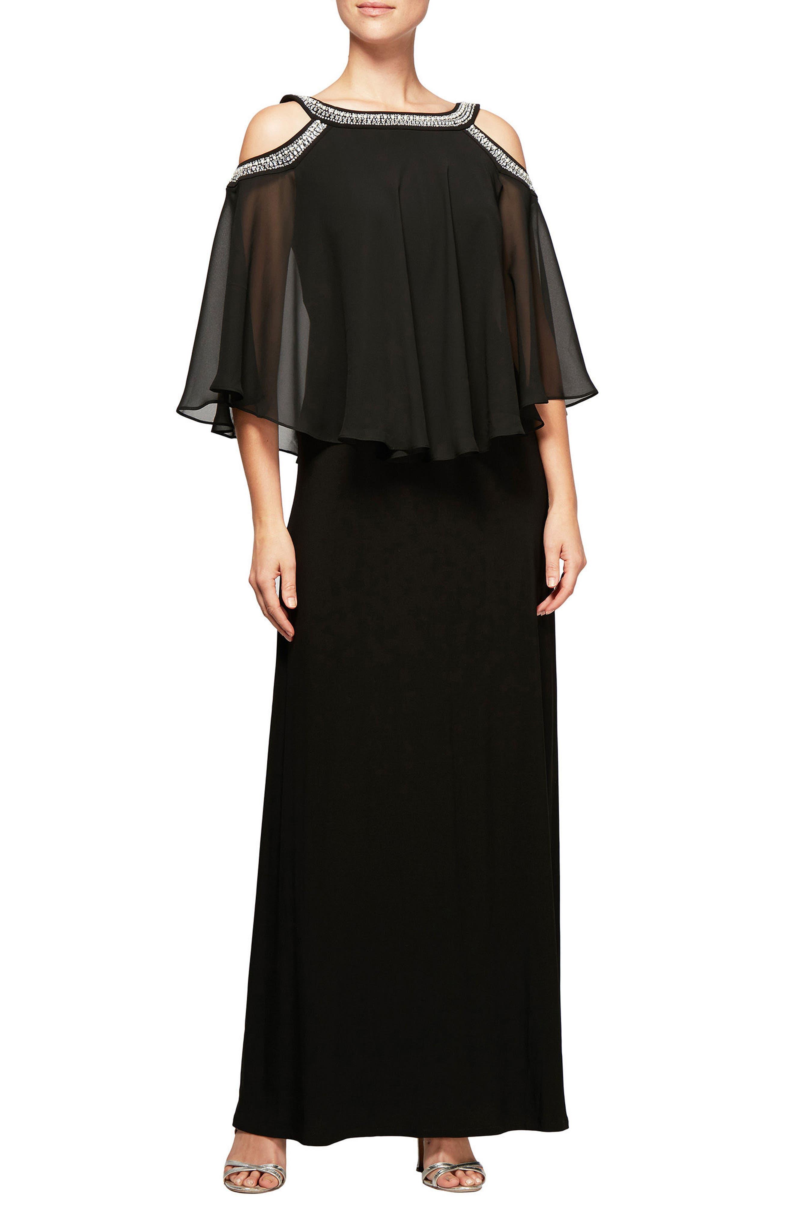 Alex Evenings Cold Shoulder Popover Dress, Black