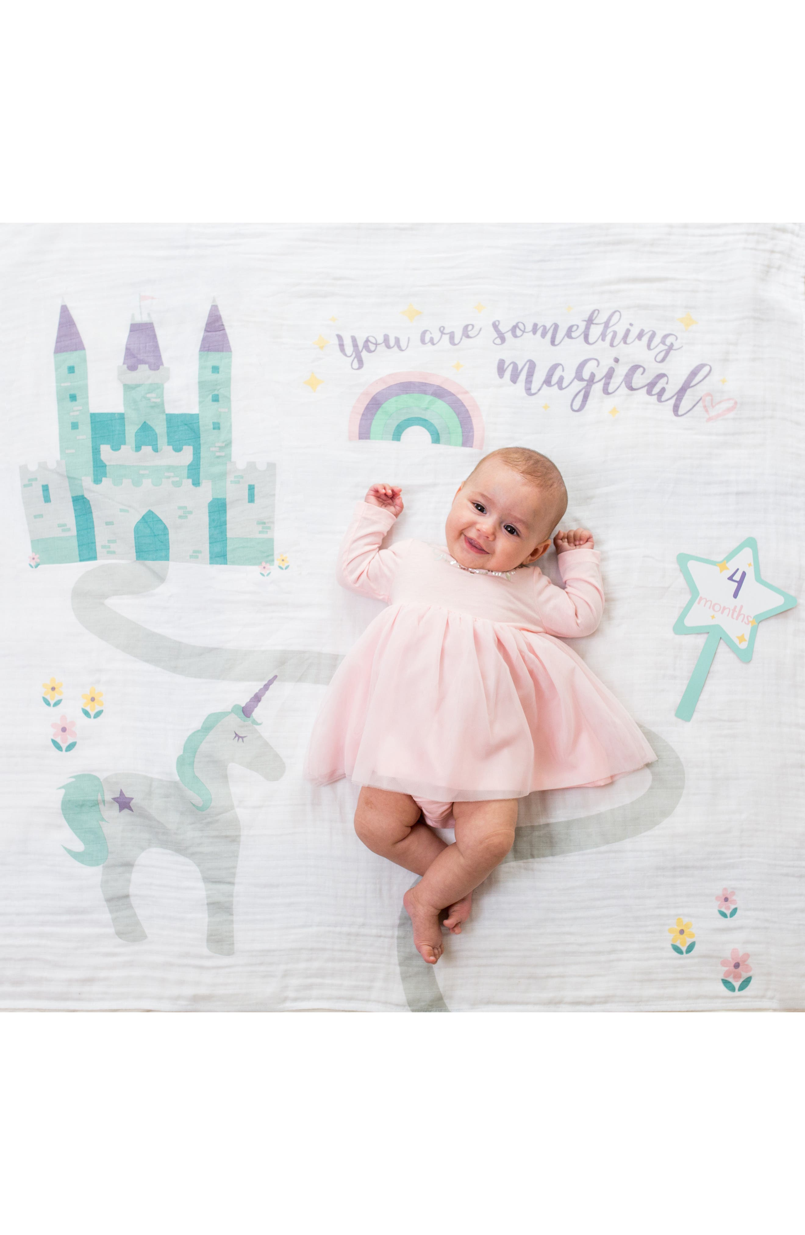 LULUJO, Baby's First Year - Something Magical Muslin Blanket & Milestone Card Set, Alternate thumbnail 6, color, LAVENDER