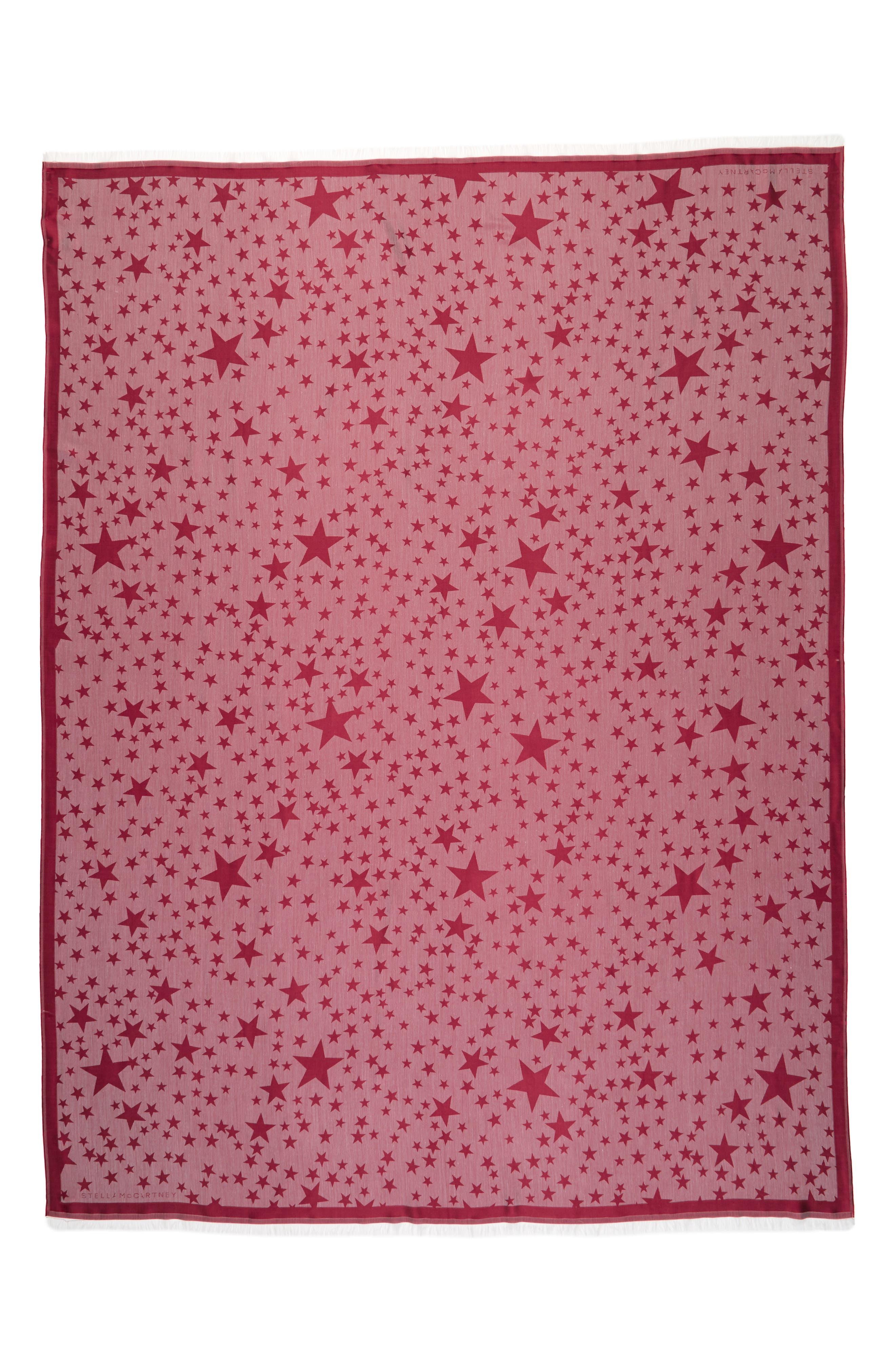 STELLA MCCARTNEY, Star Jacquard Silk & Modal Scarf, Main thumbnail 1, color, BURGUNDY