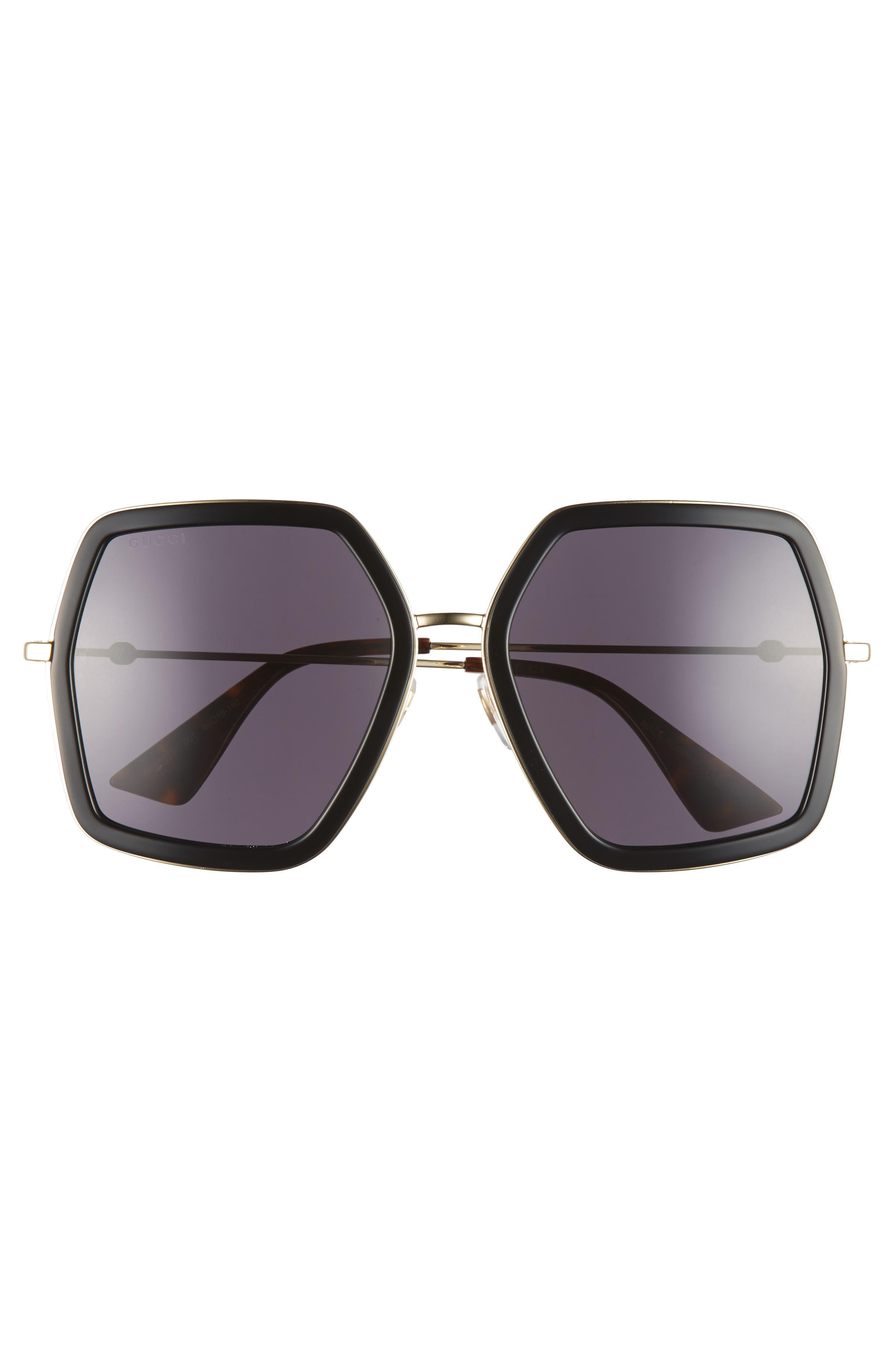 GUCCI, 56mm Sunglasses, Alternate thumbnail 3, color, BLACK/ GREY