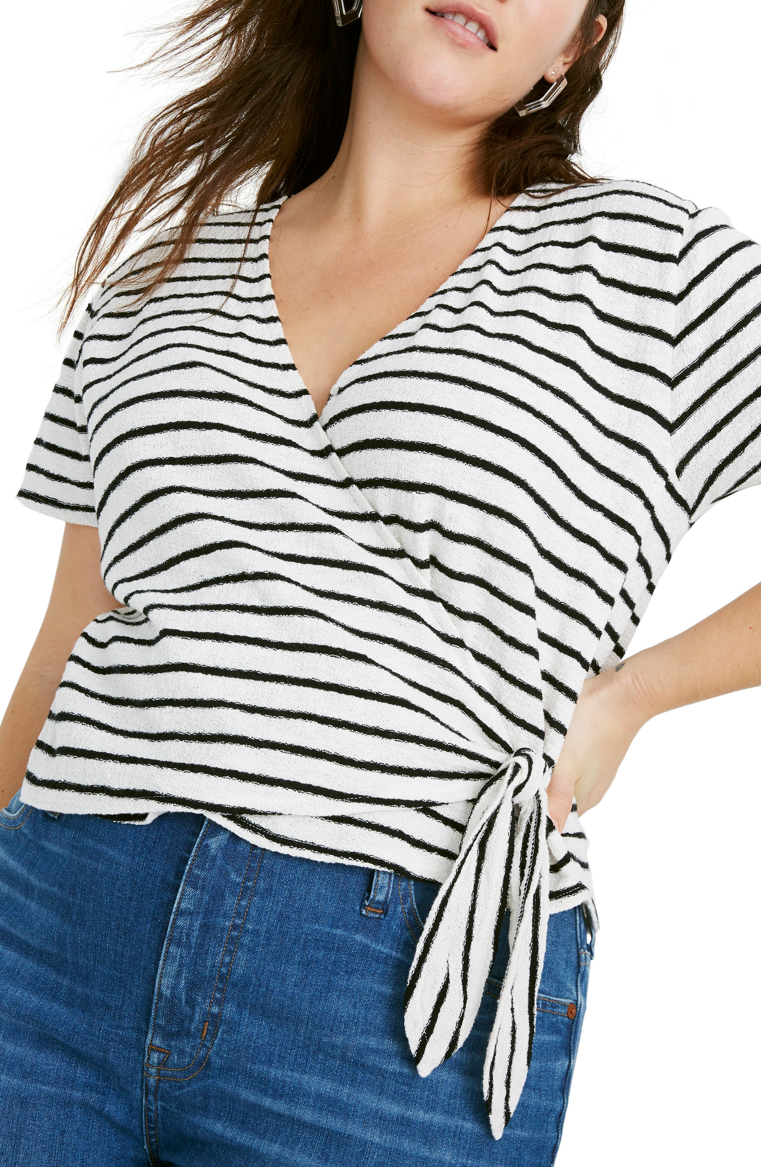 MADEWELL, Short Sleeve Wrap Top, Alternate thumbnail 2, color, 100