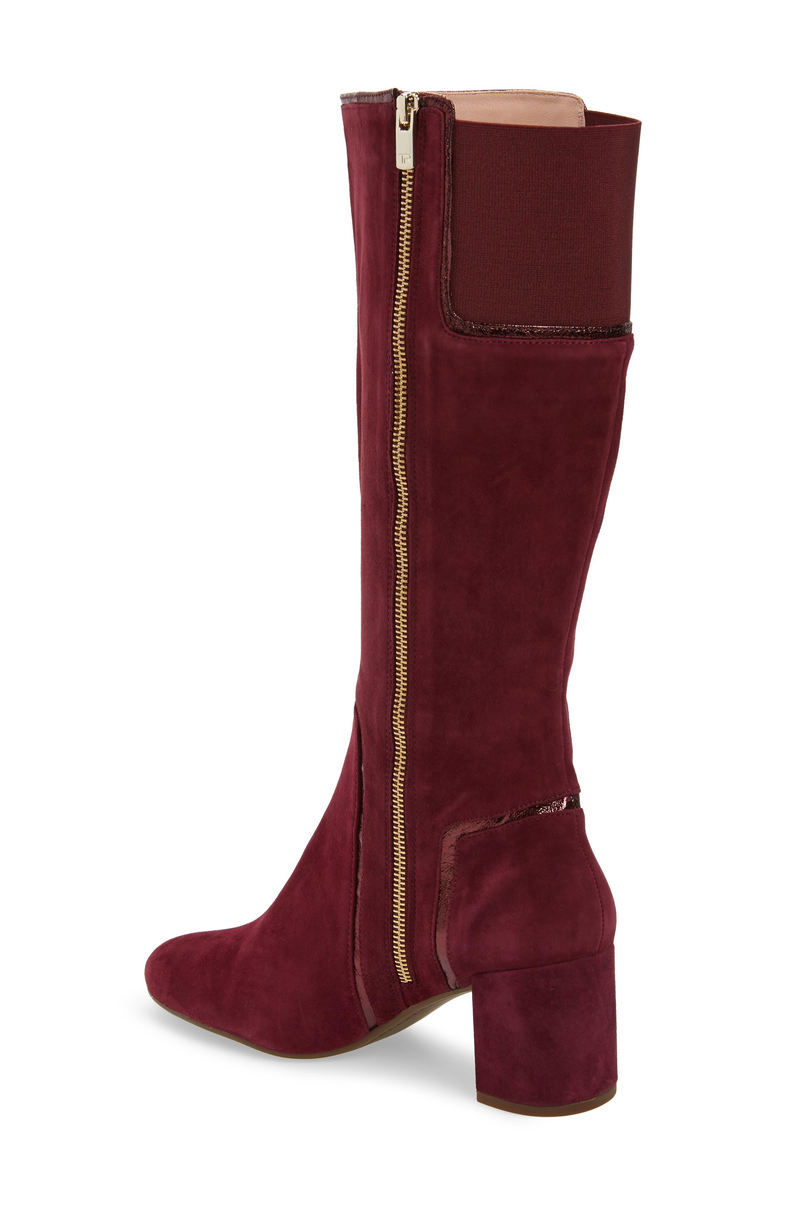 TARYN ROSE, Charlee Knee High Boot, Alternate thumbnail 2, color, FIG SUEDE