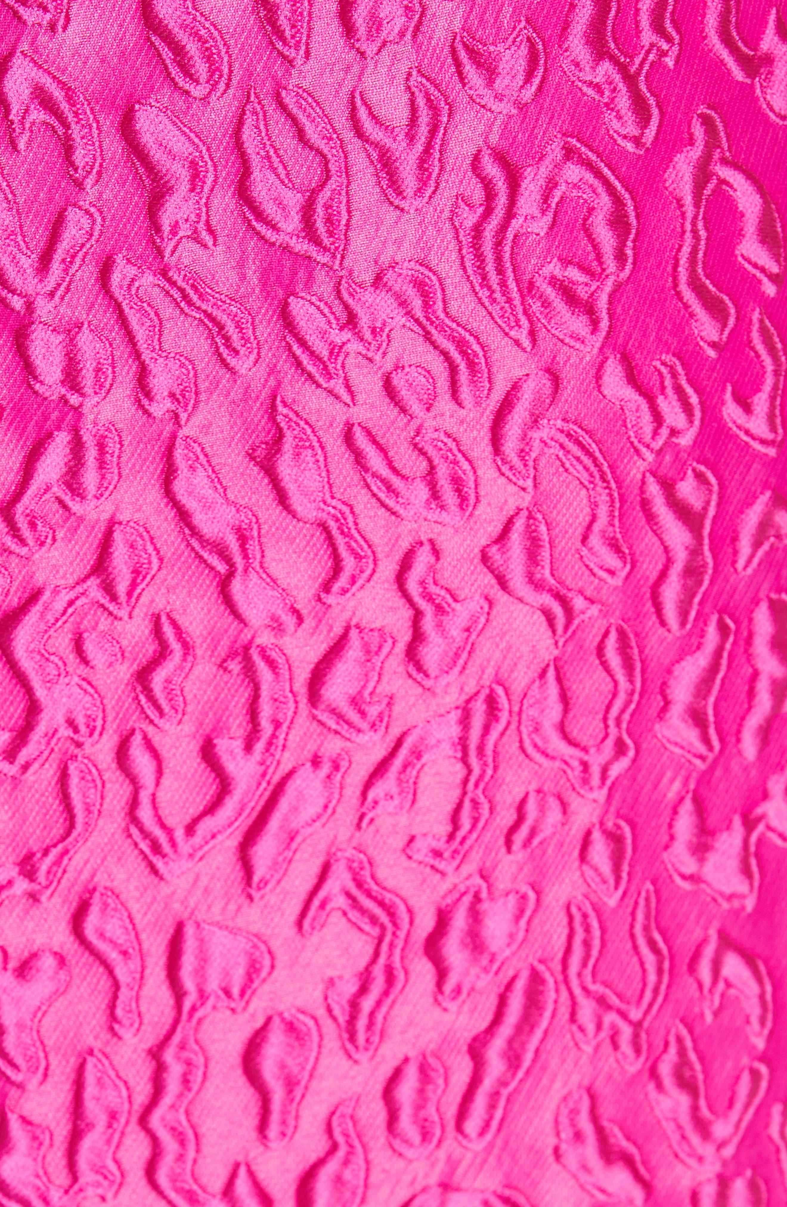 BRANDON MAXWELL, Leopard Jacquard Cloqué Dress, Alternate thumbnail 6, color, FUCHSIA