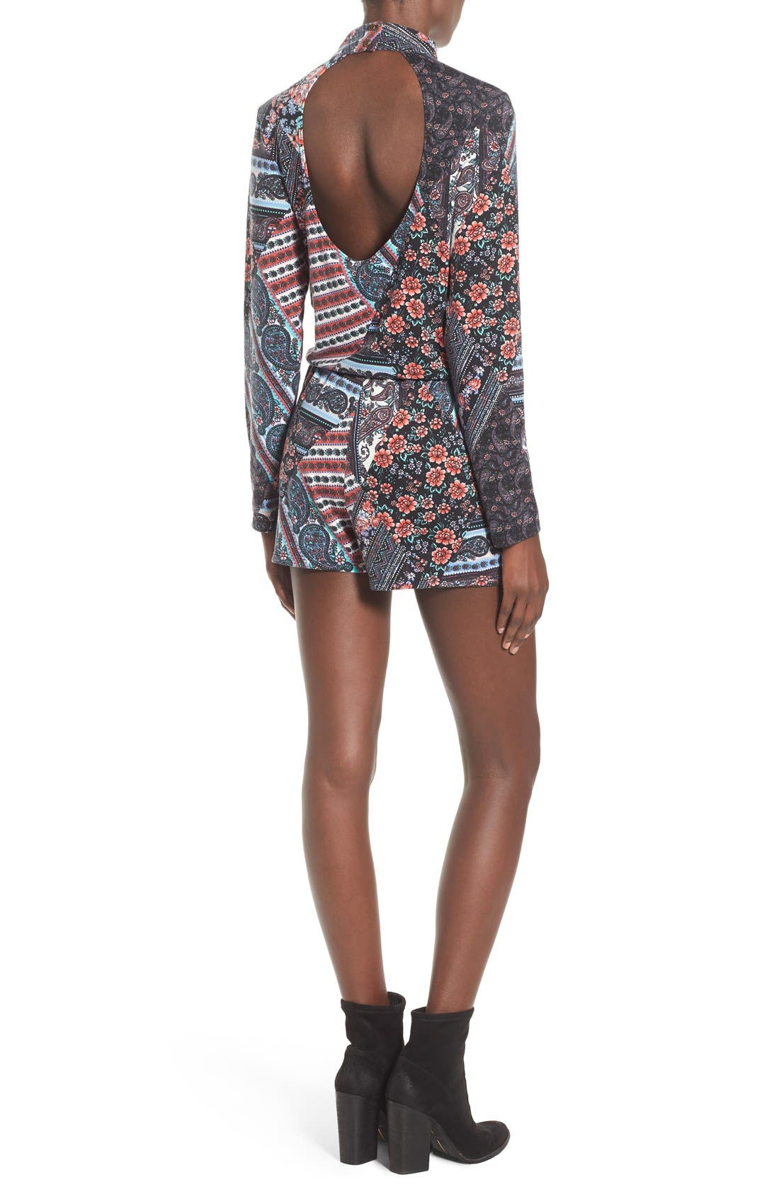 MIMI CHICA, Long Sleeve Mixed Print Romper, Alternate thumbnail 2, color, 020