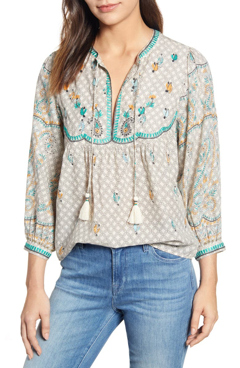 Lucky Brand Tops EVELYN EMBROIDERED PEASANT TOP