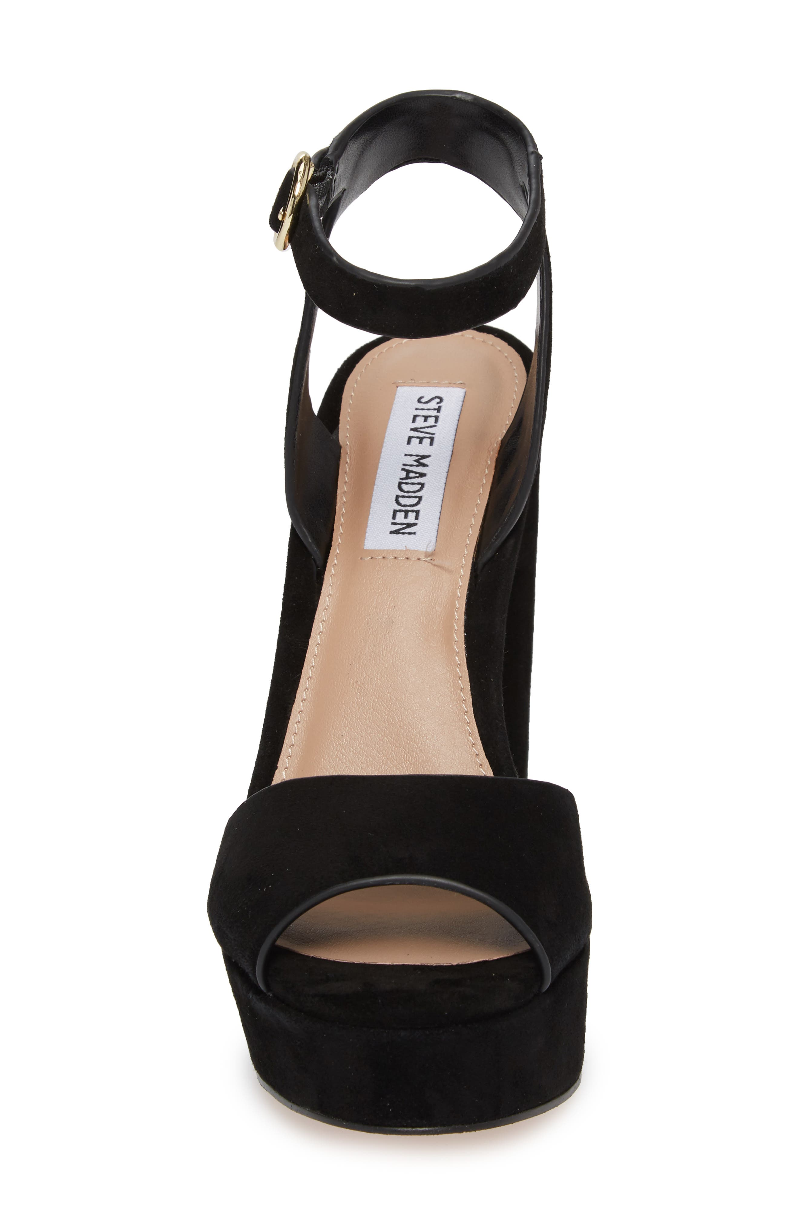 STEVE MADDEN, Madeline Platform Sandal, Alternate thumbnail 4, color, BLACK SUEDE