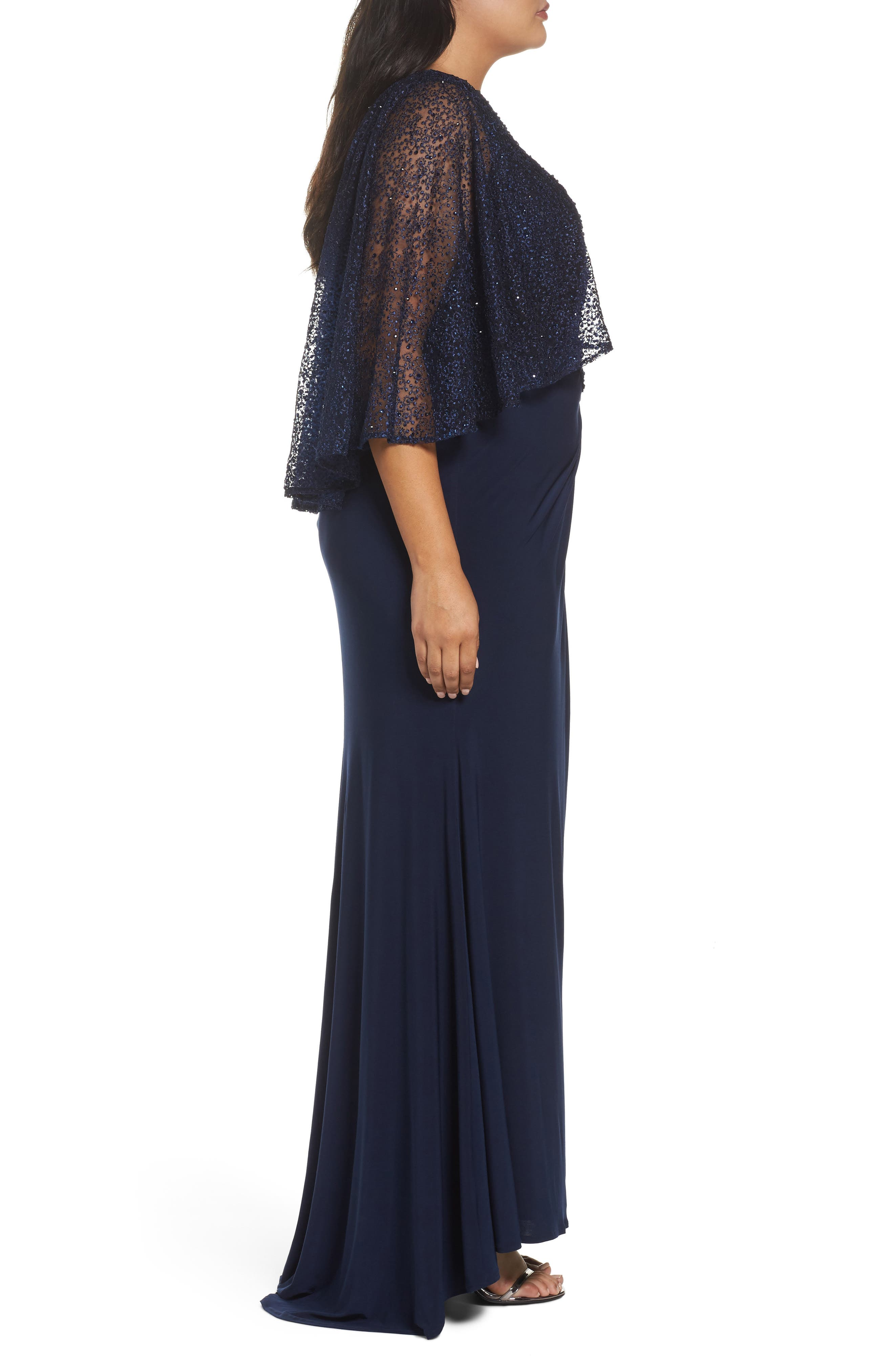 MAC DUGGAL, Lace Capelet Column Gown, Alternate thumbnail 3, color, MIDNIGHT