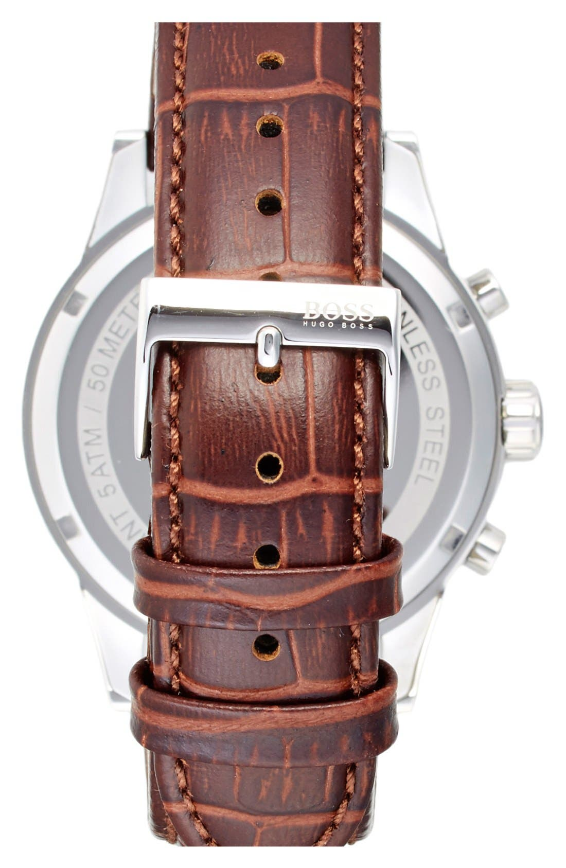 BOSS, 'Jet Sport' Chronograph Leather Strap Watch, 41mm, Alternate thumbnail 2, color, WHITE/ BROWN
