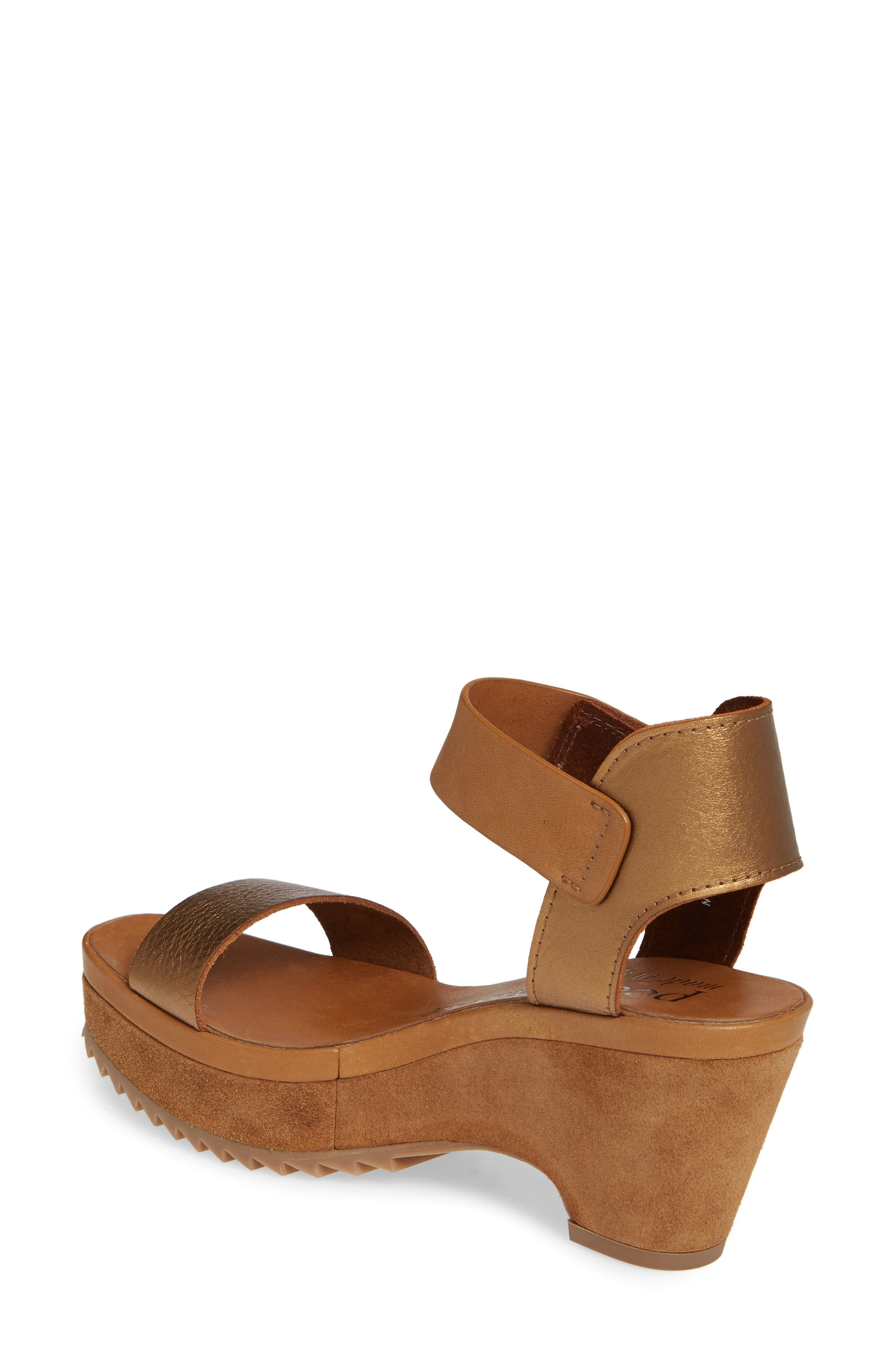 PEDRO GARCIA, Franses Flatform Sandal, Alternate thumbnail 2, color, TOBACCO CERVO LAME