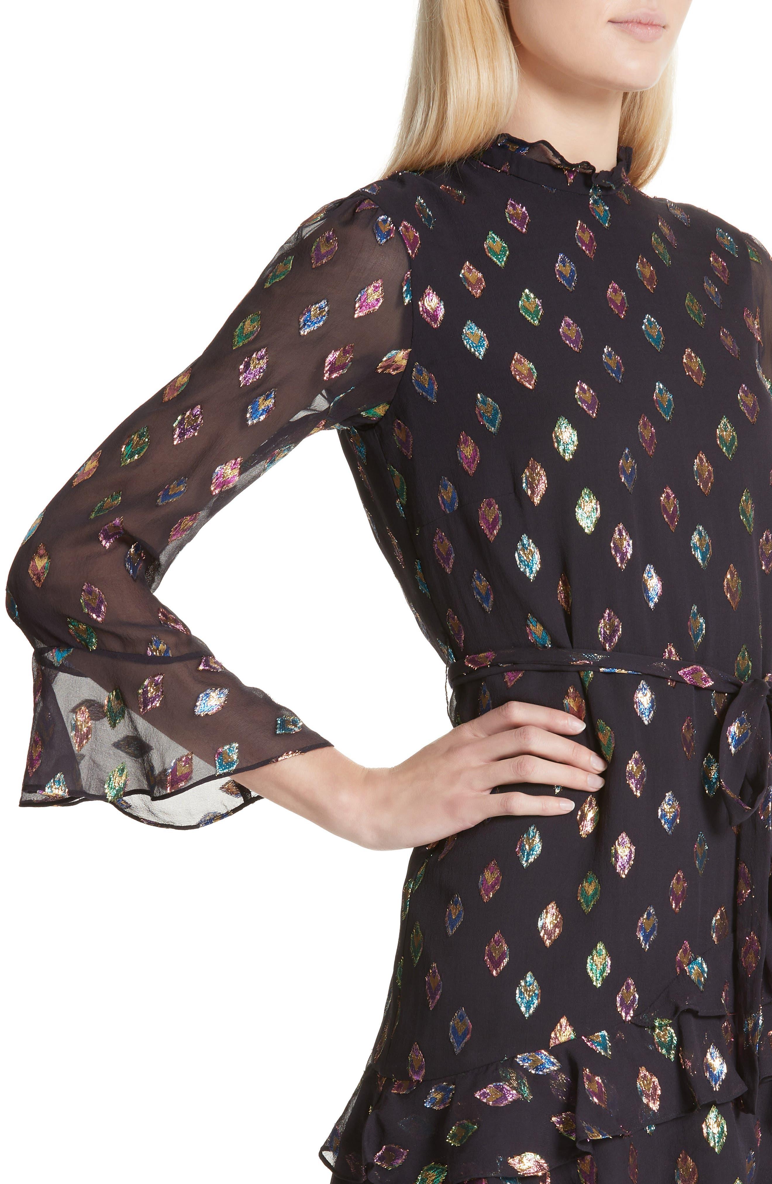 SALONI, Marissa Metallic Fil Coupé Silk Blend Minidress, Alternate thumbnail 4, color, 003