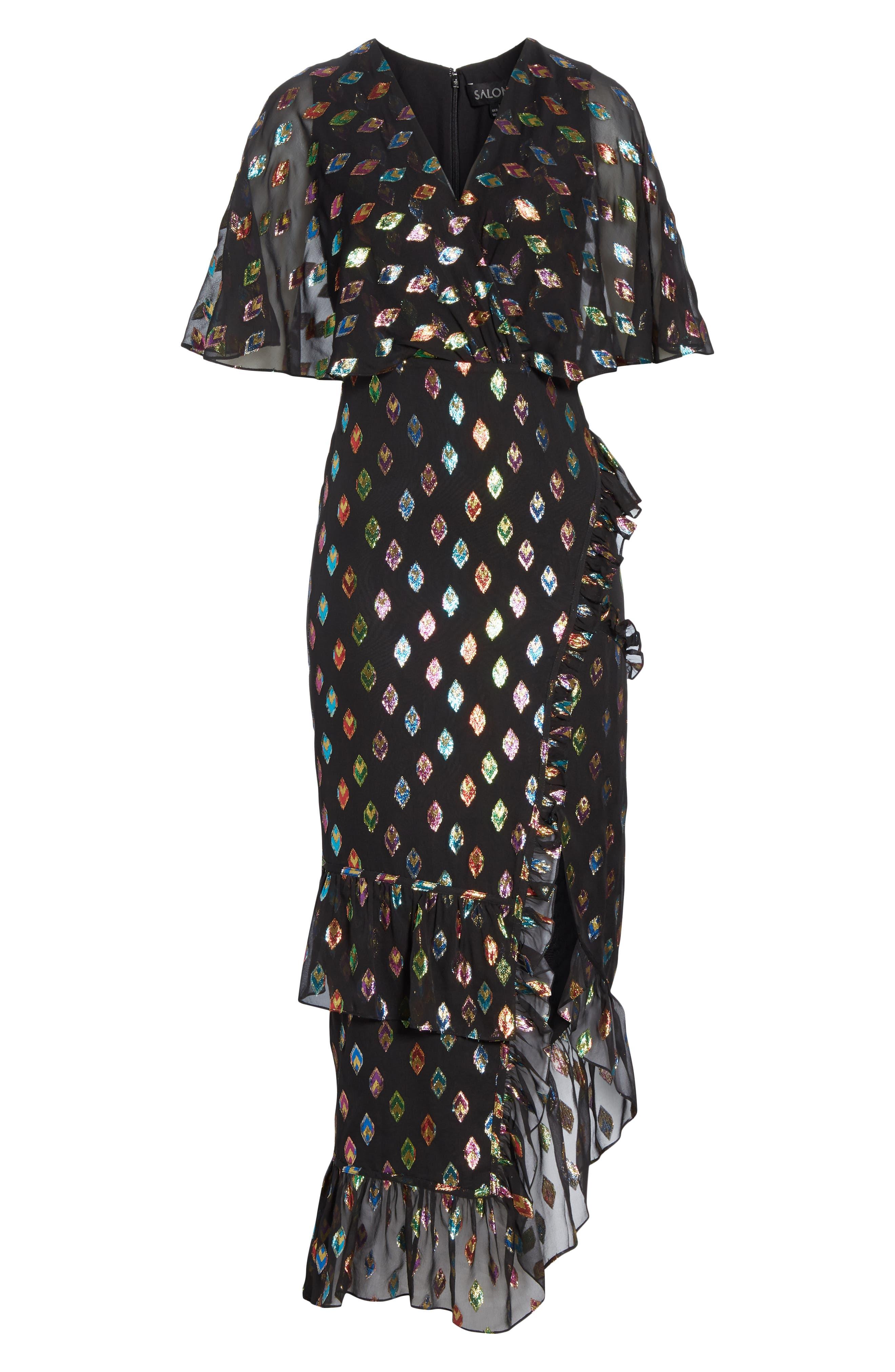 SALONI, Ruffle Hem Silk Blend Dress, Alternate thumbnail 6, color, 003